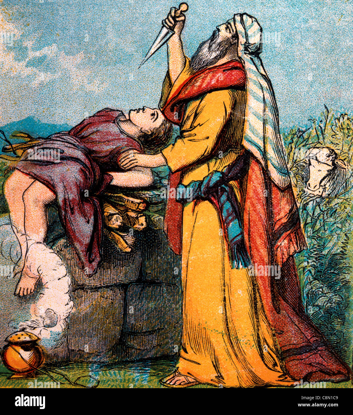 Bible Stories- Illustration Of Abraham And The Binding Of Isaac Genesis xxii 1-19 - Stock Image