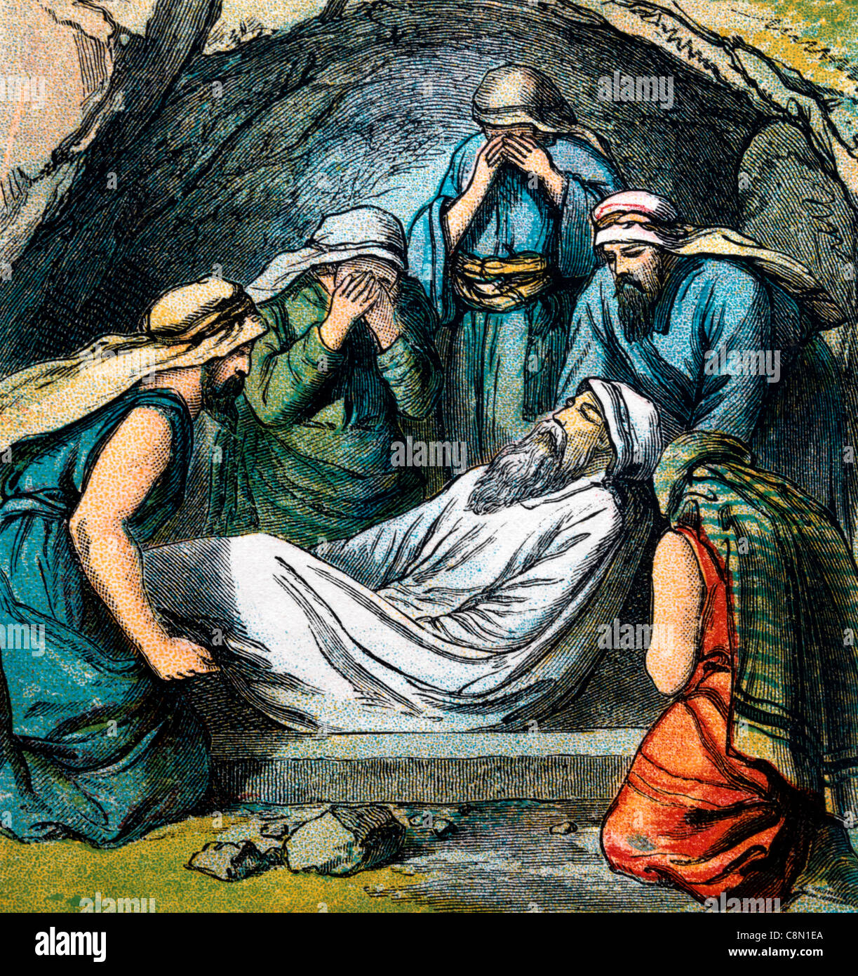 Bible Stories- Illustration Of Isaac And Ishmael Burying Abraham In The Cave Of Machpelah Genesis xxv 7-11 Stock Photo