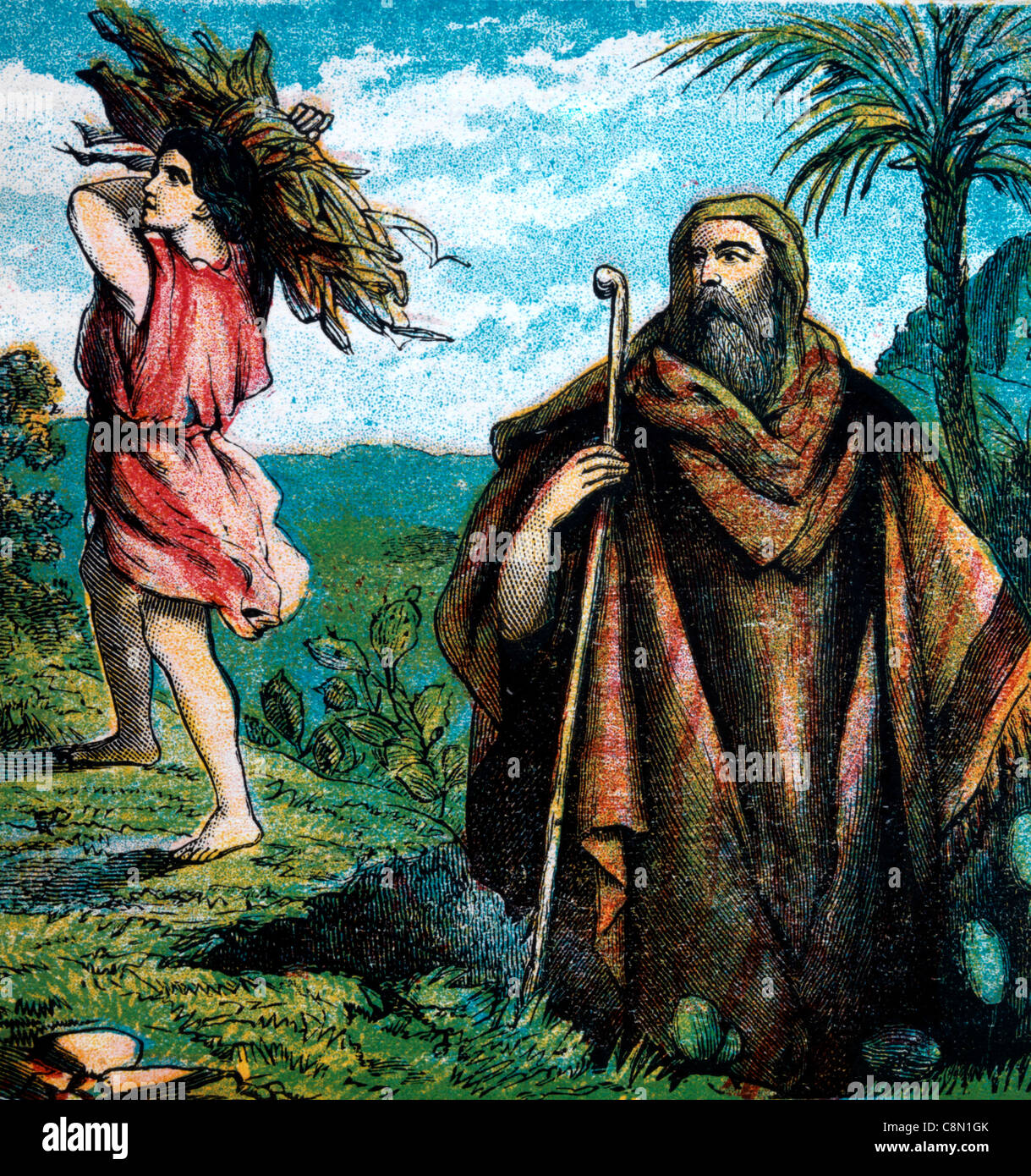 Bible Stories - Illustration Of Isaac Carrying The Wood Up The Mountain With Abraham Genesis xxii 1-19 - Stock Image
