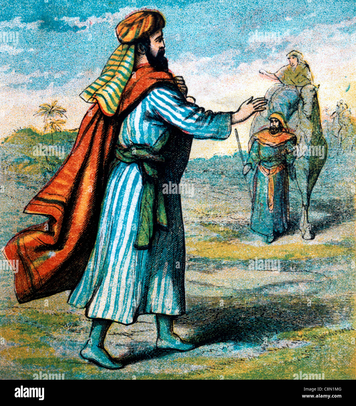 Bible Stories- Illustration Of Isaac Going Into The Field to Prey When Rebekah Arrived on A camel Genesis xxiv 32 - Stock Image