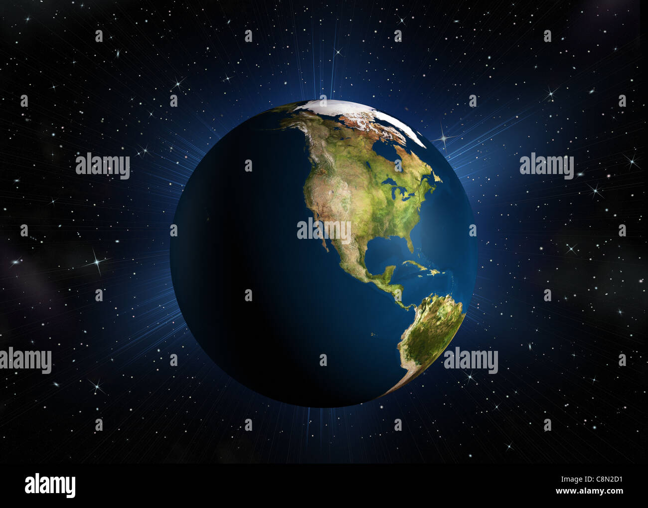 The planet earth.The North America. High-quality 3d rendering mother Earth with back illumination. Space with stars - Stock Image