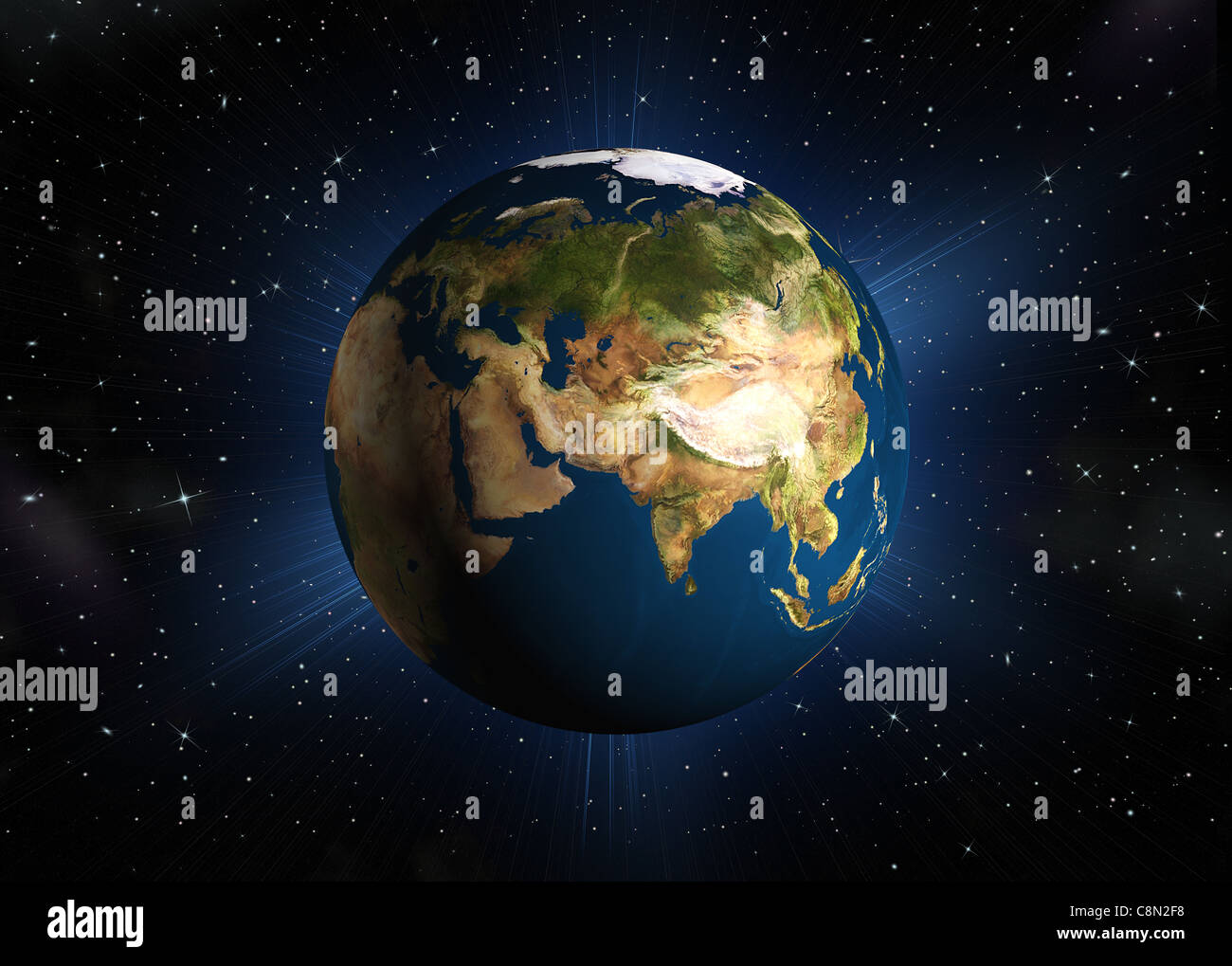 The planet earth. Eurasia.High-quality 3d rendering mother Earth with back illumination. Space with stars - Stock Image