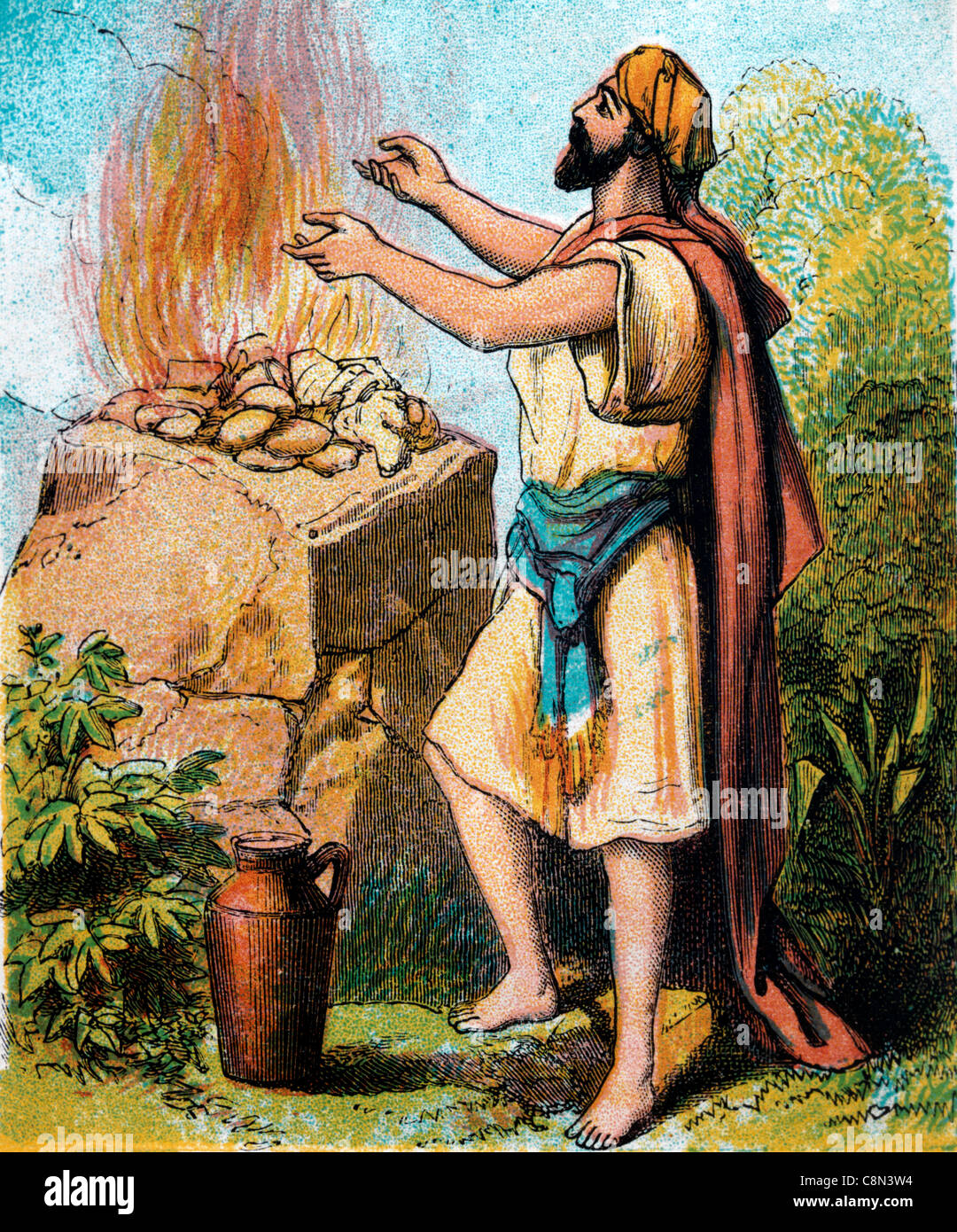 Bible Stories- Illustration Of Gideon With The Flesh And The Unleavened Bread On A Rock - Stock Image