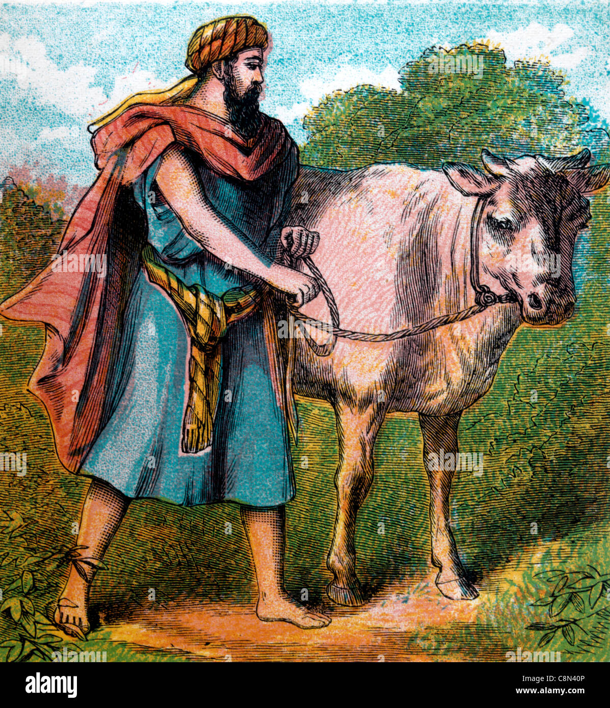 Bible Stories- Illustration Of Gideon Taking His Father's Young Bullock To Throw Down The Altar Of Baal Judges - Stock Image