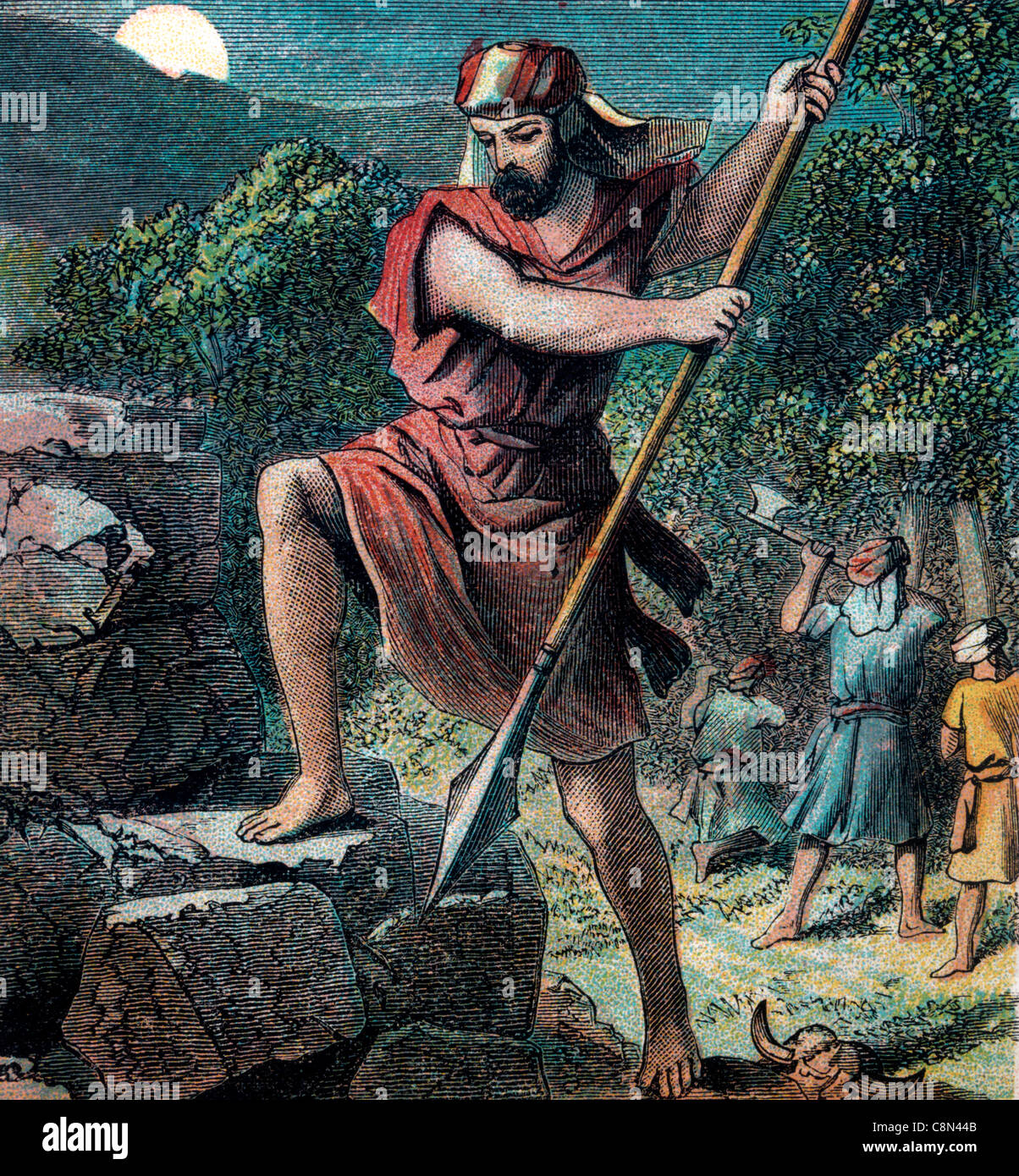 Bible Stories- Illustration Of Gideon Destroying The Altar Of Baal Stock Photo