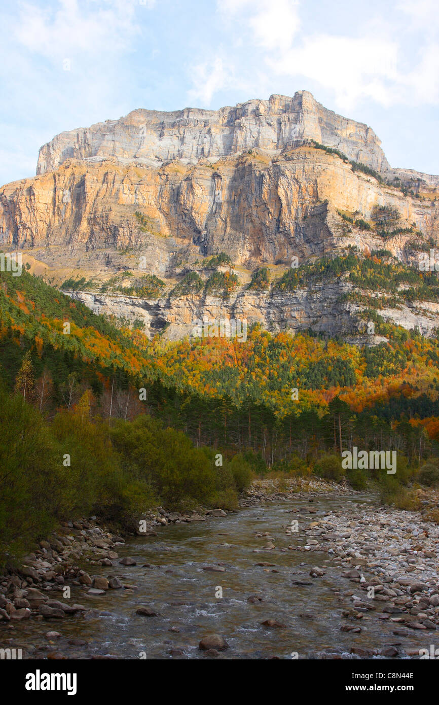 Arazas River and Ordesa Valley at the Autumn. Ordesa National Park. Huesca Province. Pyrenees. Spain Stock Photo