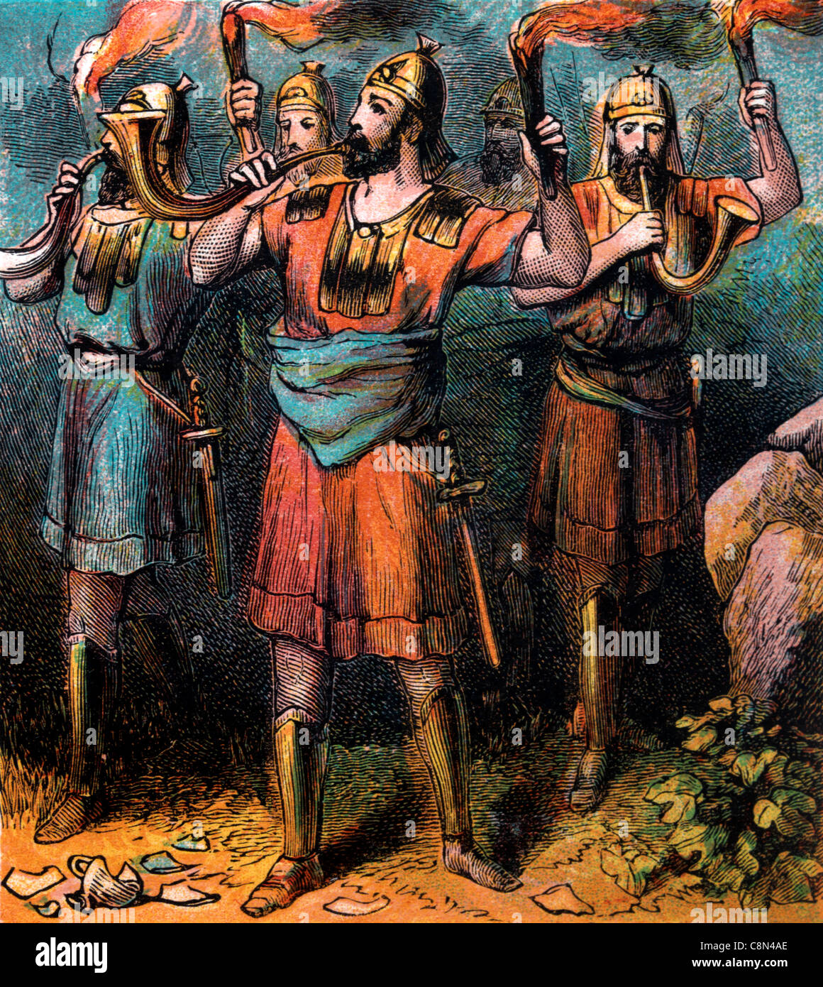 Bible Stories- Illustration Of Gideon's Army Holding Torches And Blowing Trumpets - Stock Image
