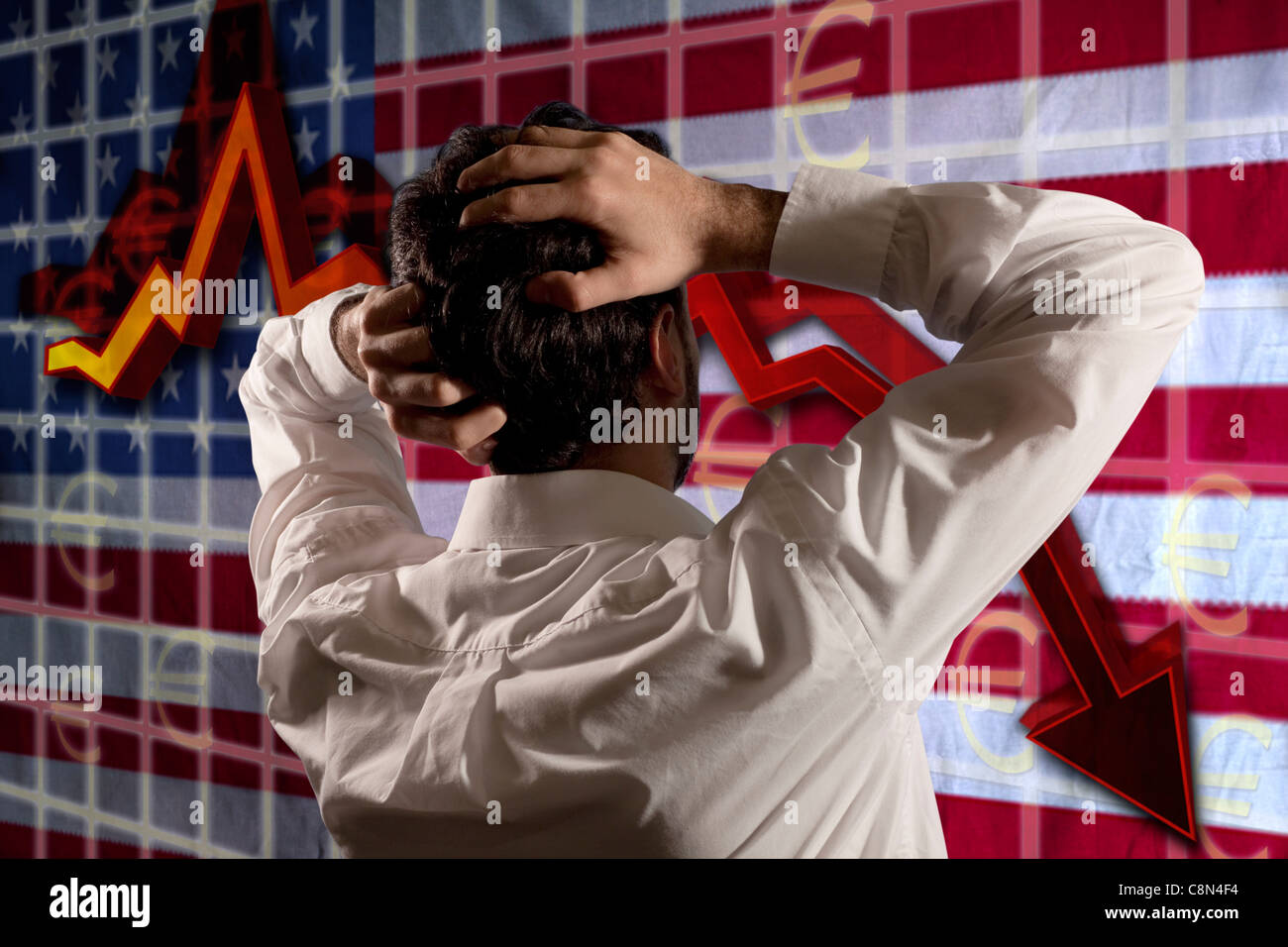 American business man looking the crack on the USA flag and is desperate thinking on the future - Stock Image