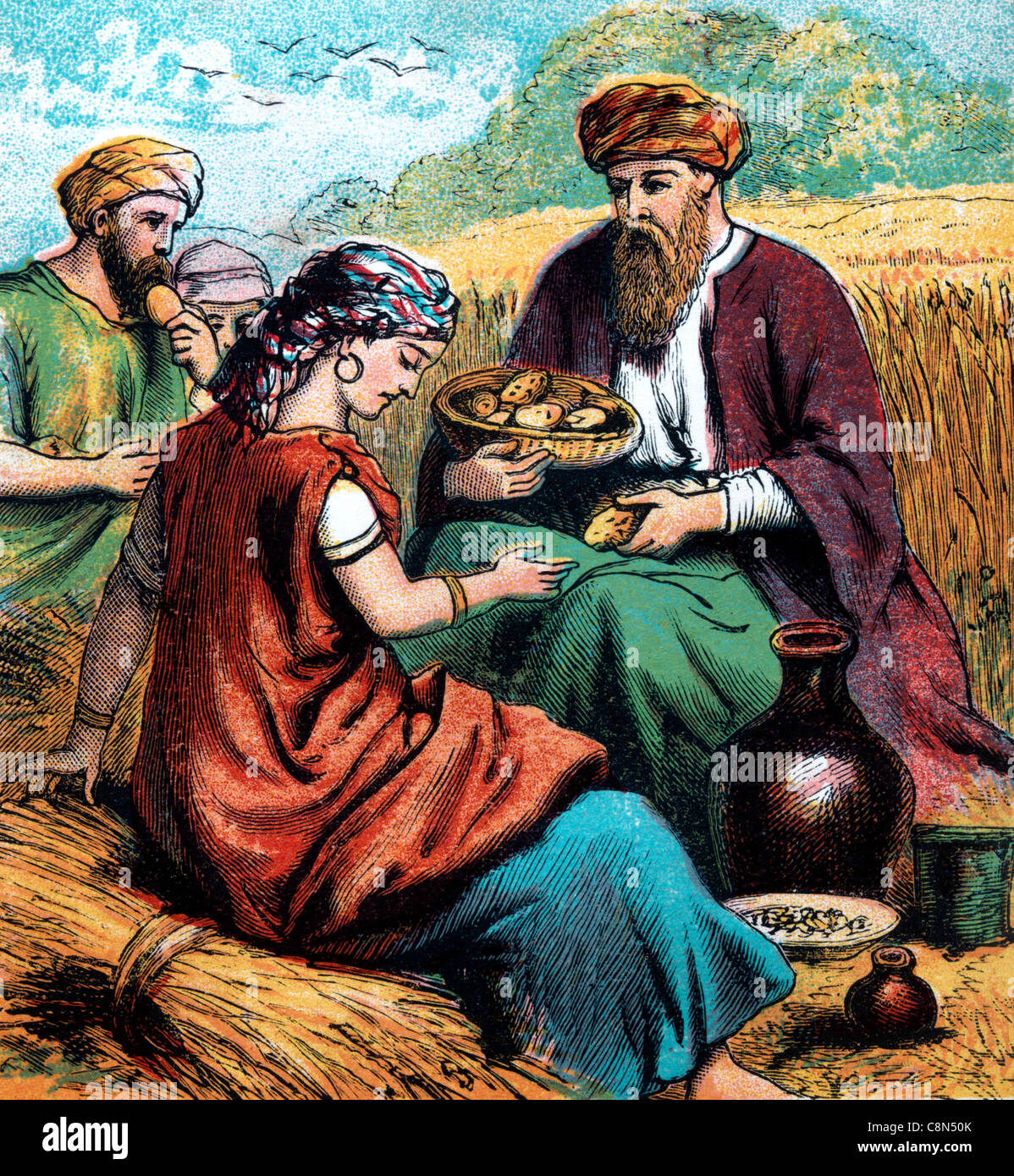 Bible Stories Illustration Of Ruth After Working Hard In