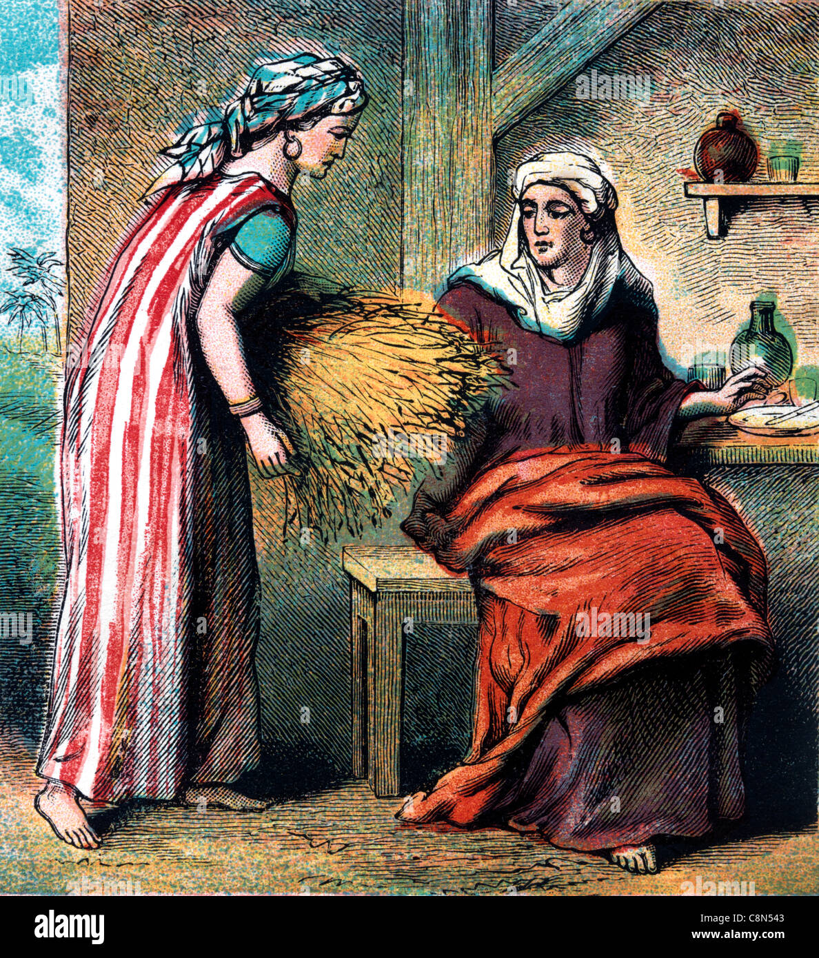Bible Stories Illustration Of Ruth Taking Home The Barley That She