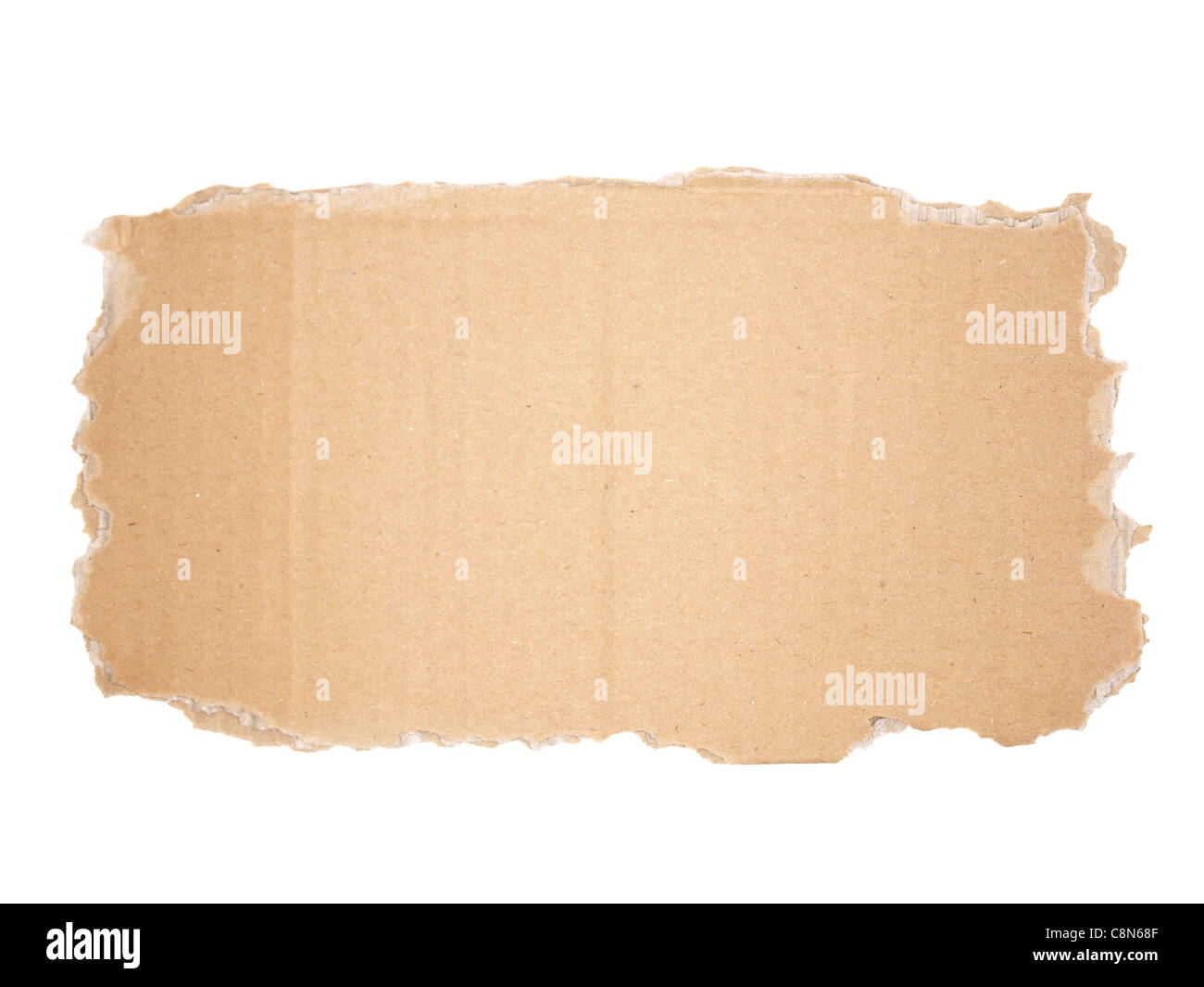 blank cardboard sign with torn edges - Stock Image