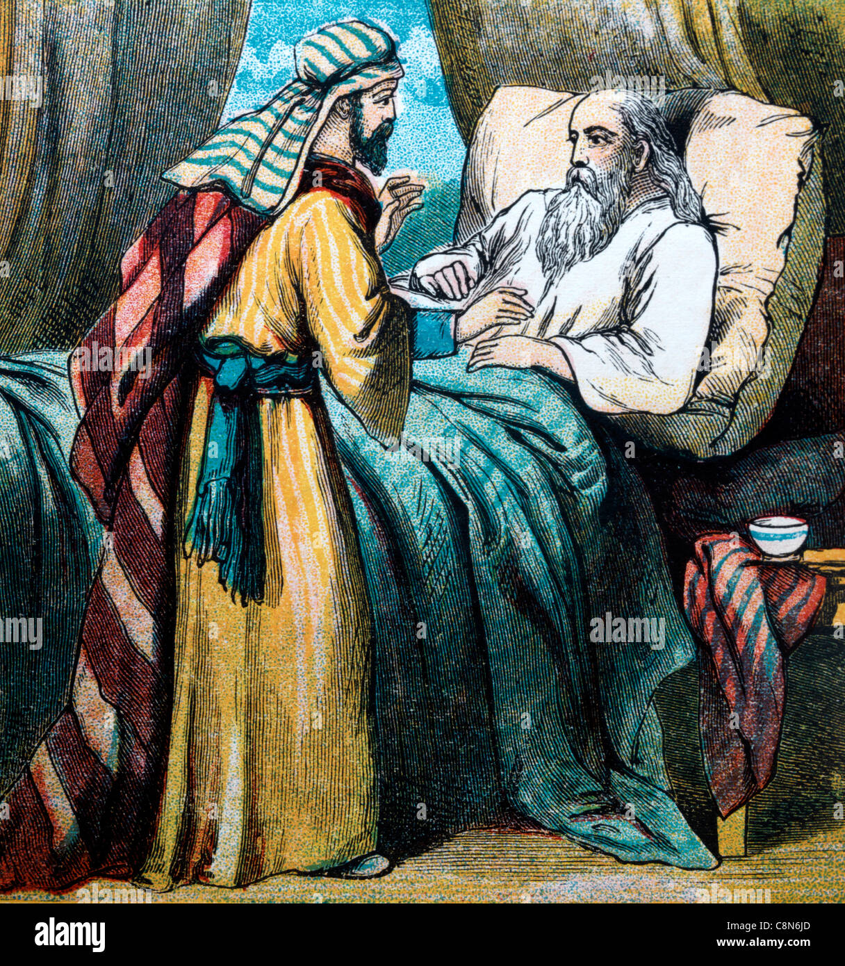 Bible Stories- Illustration Of Esau coming Back To Isaac After The Hunt To Find Jacob Had Deceived His Father - Stock Image