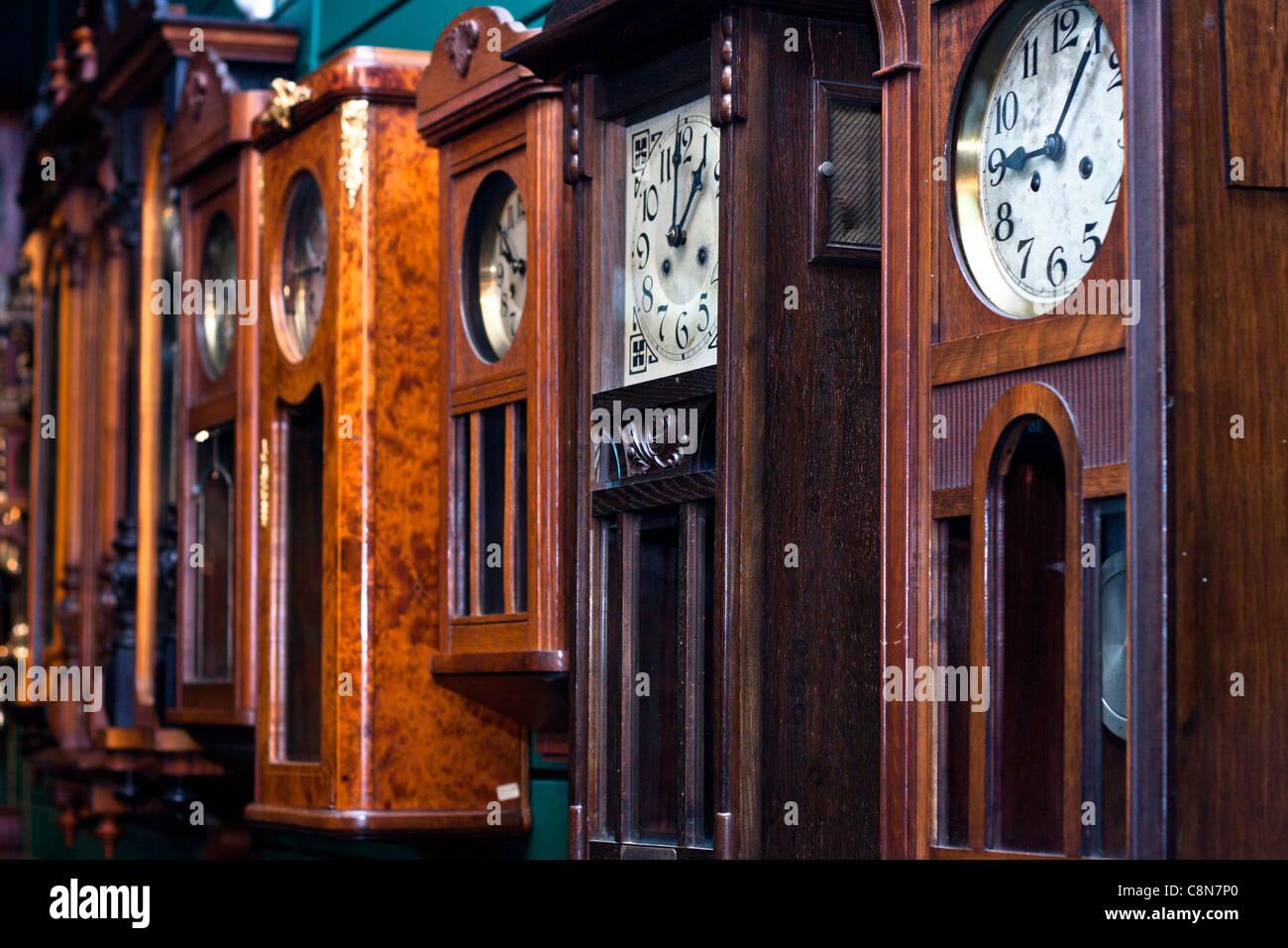 Antique Clock collection, Claphams National Clock Museum, Whangarei, New Zealand. - Stock Image