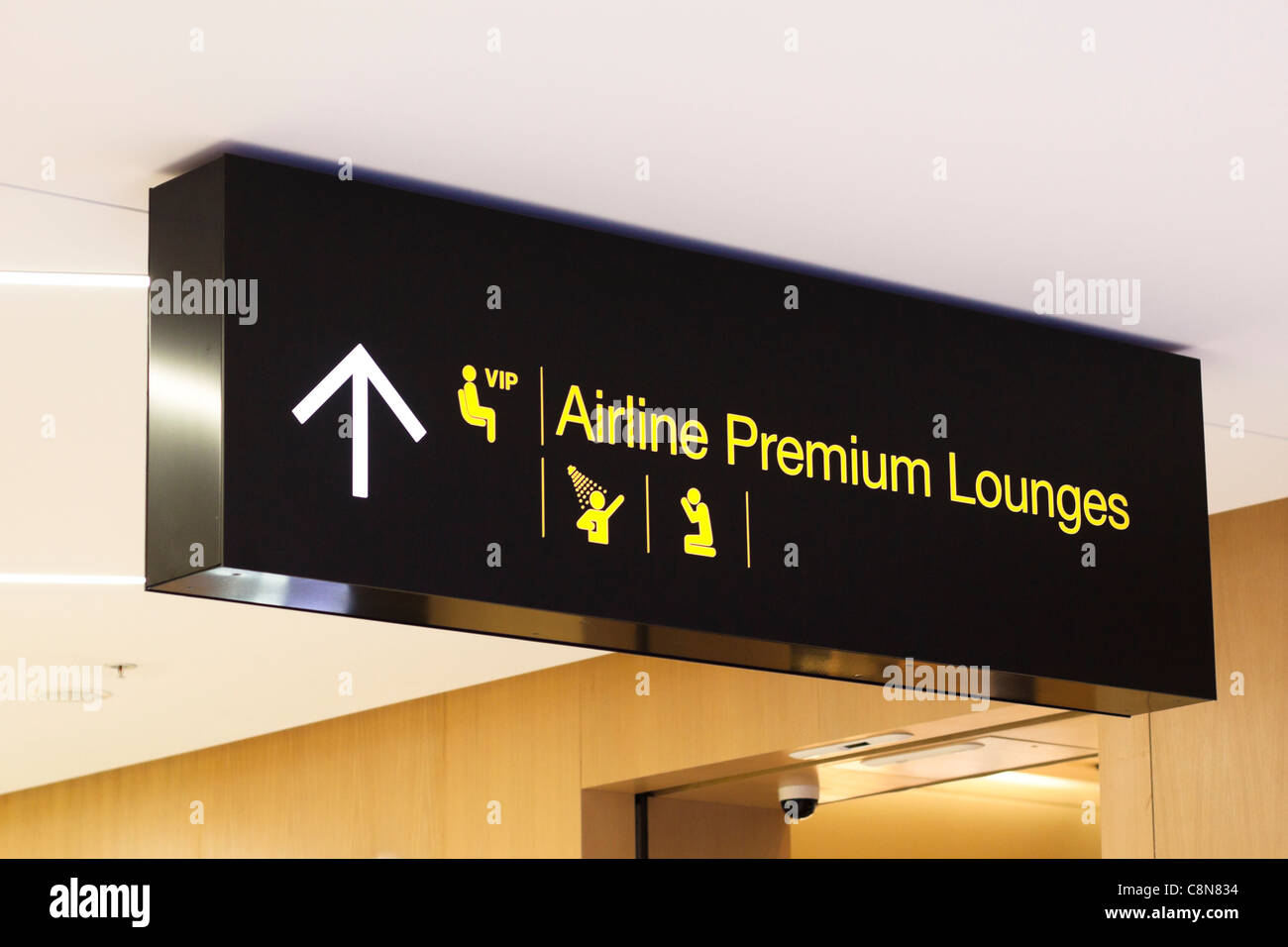 Airport sign, VIP Airline Premium Lounges. - Stock Image