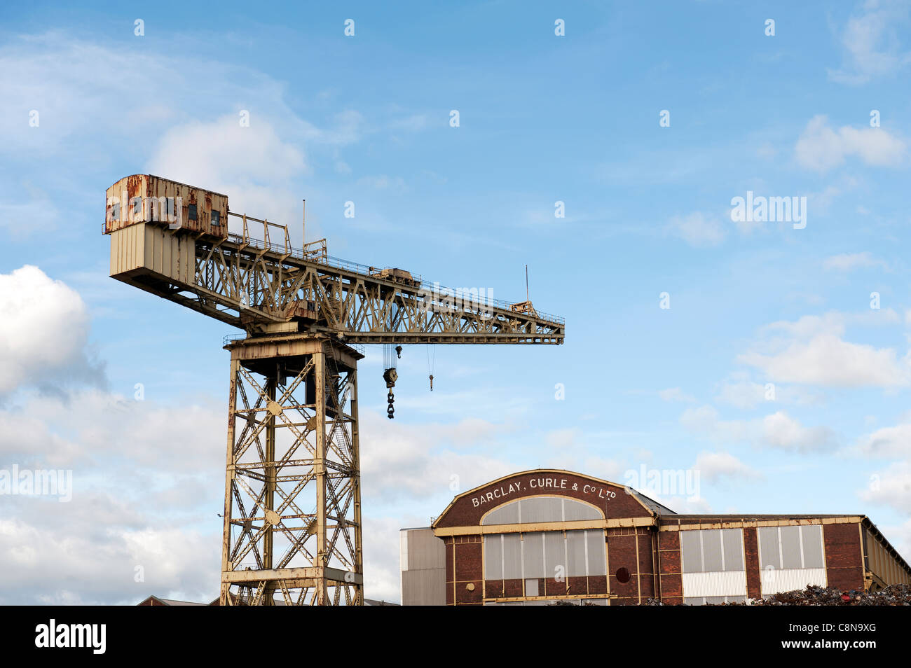 View of the Barclay Curle Engine Works Titan Crane on the banks of the River Clyde, Glasgow, Scotland. - Stock Image
