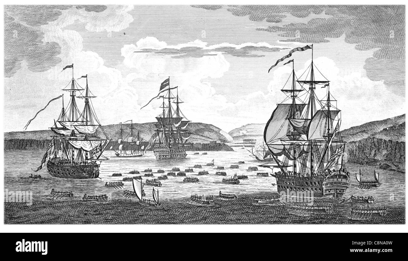 Disposition British fleet under command of Admiral Keppel 8th April 1761 previous attack of Fort Andre Island of - Stock Image
