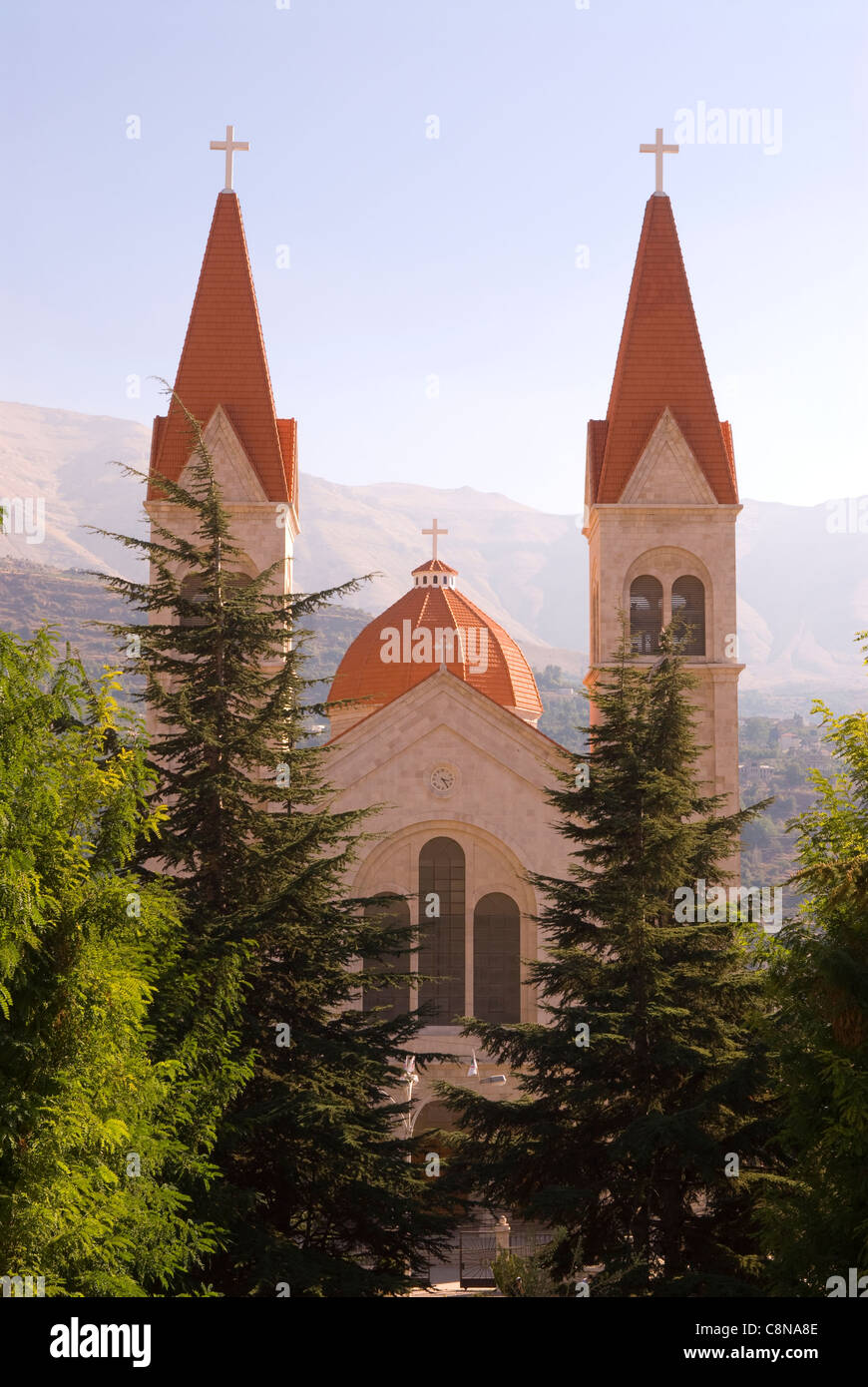 St Saba Church, which dominates the Christian town of Bcharre, northern Lebanon. - Stock Image
