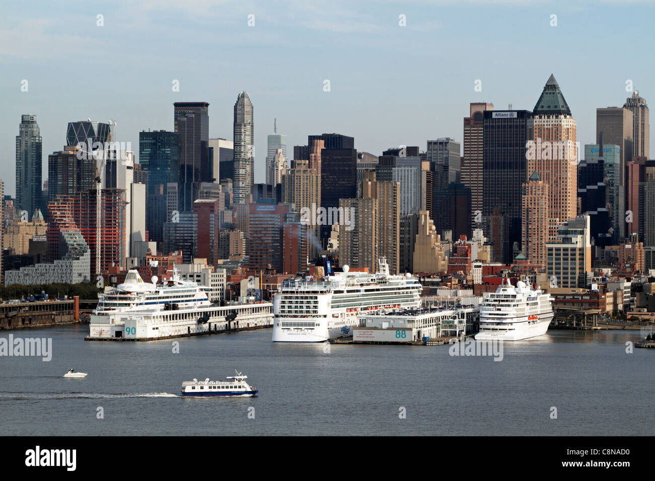 Cruise Ships docked on the Hudson River near mid-town Manhattan, New York City, New York, USA - Stock Image