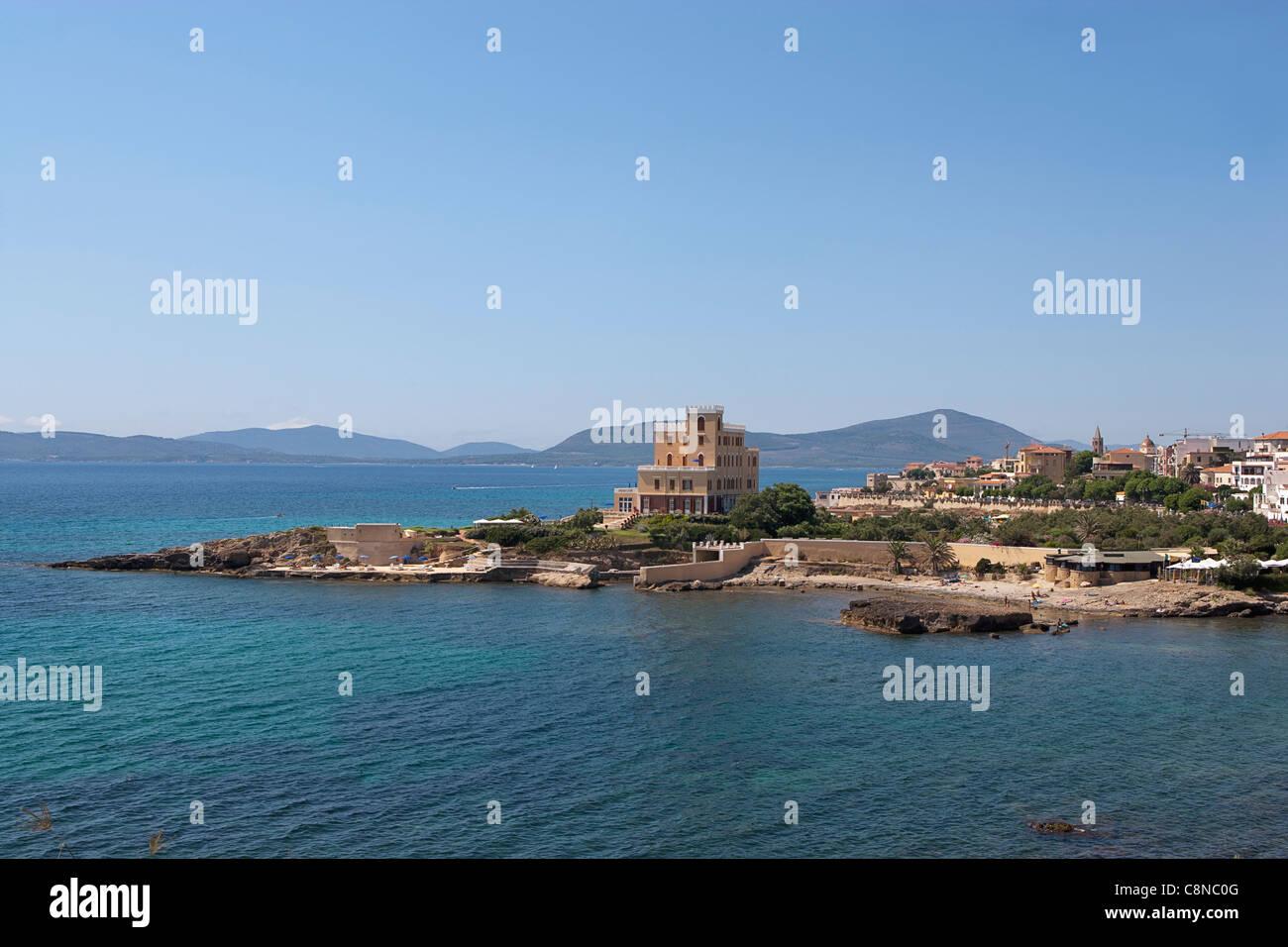 Italy, Sardinia, Alghero, view towards the promontory - Stock Image