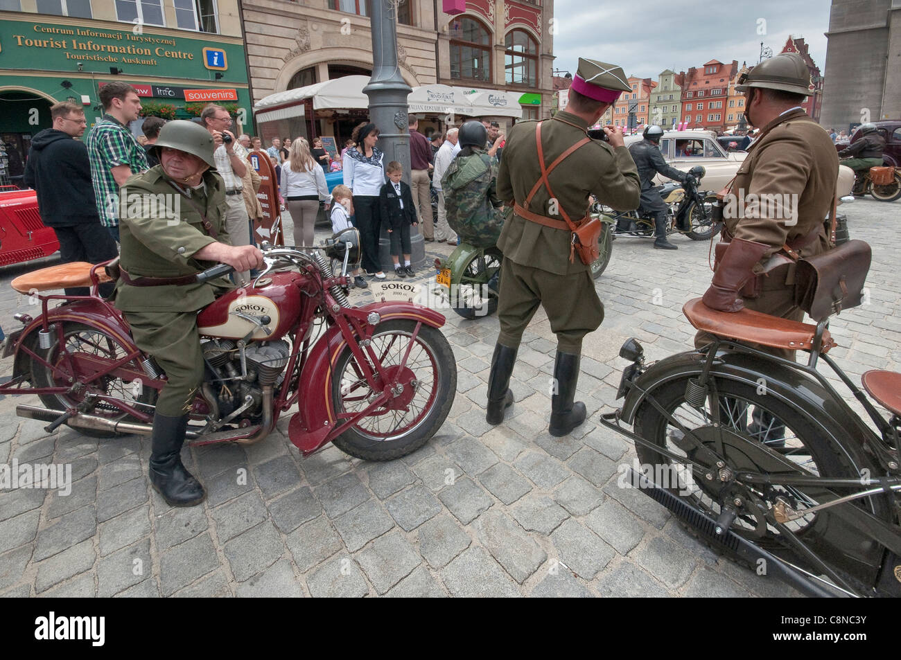 1930s Sokol 1000 Polish motorcycles, men in military uniforms, at Vehicles of Interwar Poland Rally in Wroclaw, - Stock Image