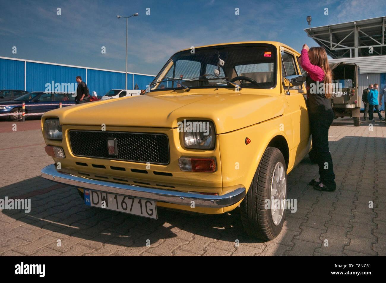 1970's Polski Fiat 127p, assembled in Poland, Oldtimer Bazar fair in Wroclaw, Lower Silesia, Poland - Stock Image
