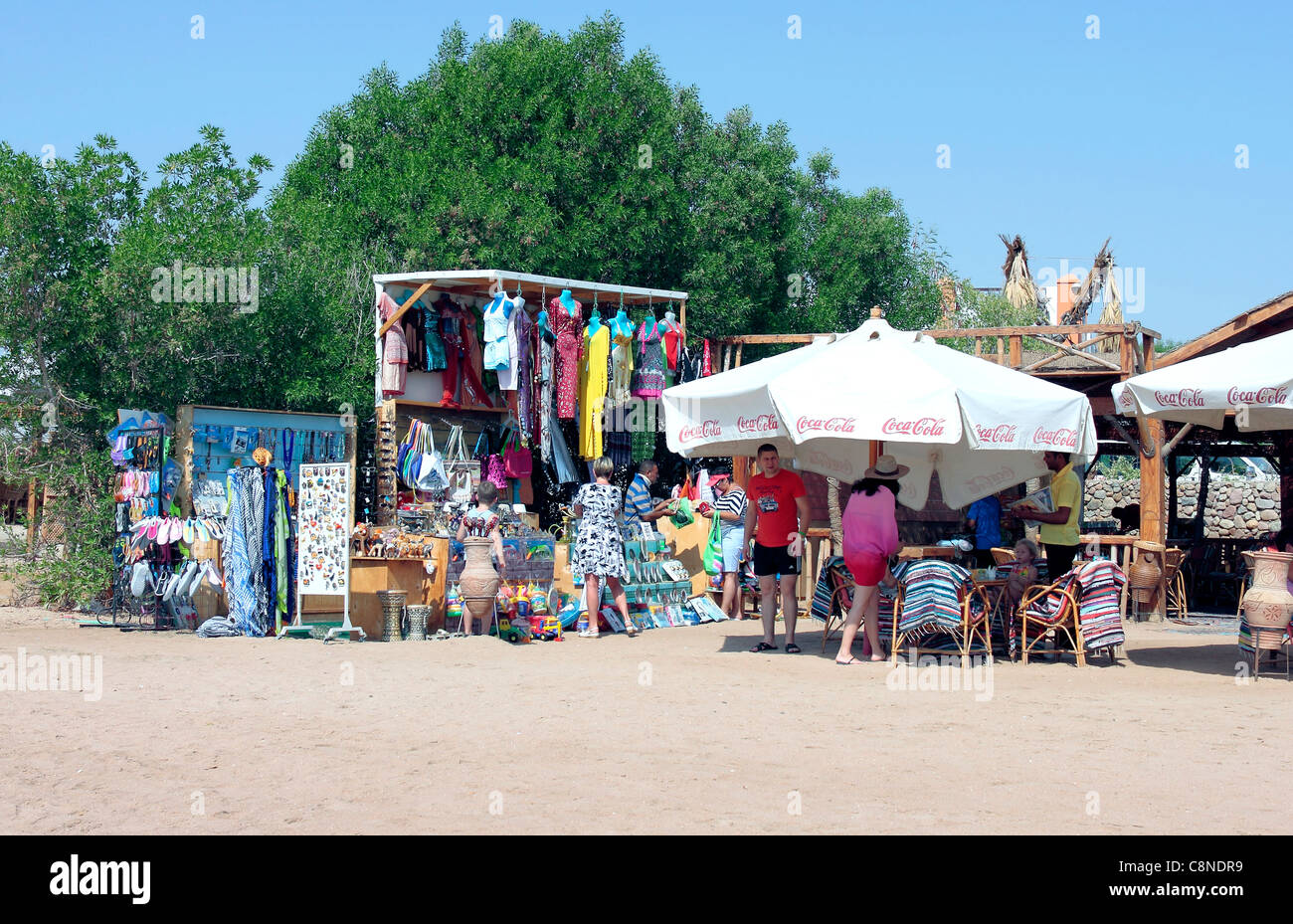 Beachside Market Stall and cafe on Sharm Bay Beach, Sharm El Sheikh, Egypt - Stock Image