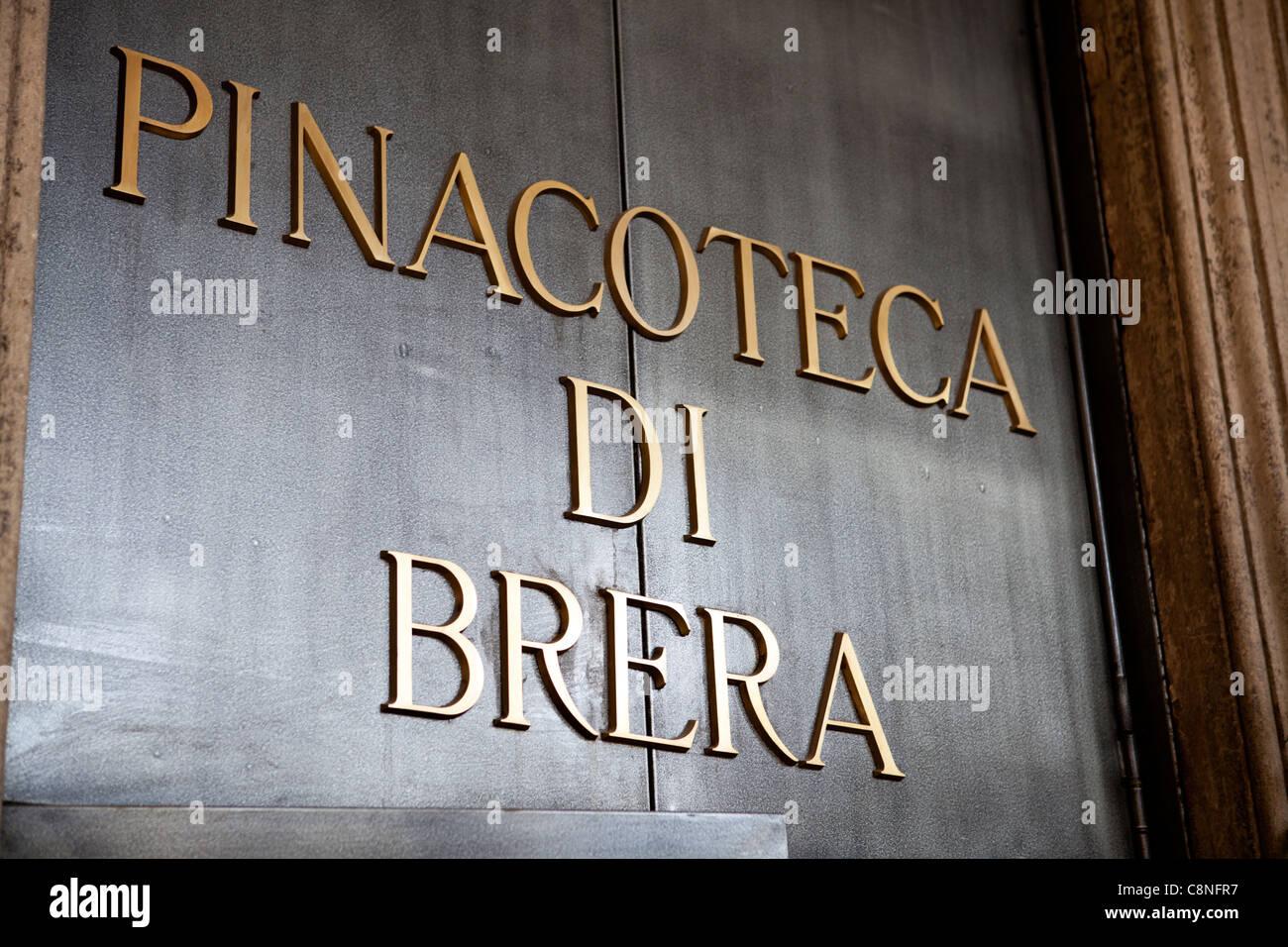 Pinacoteca di Brera - Brera art gallery institute Milano, Italy. Door detail - Stock Image