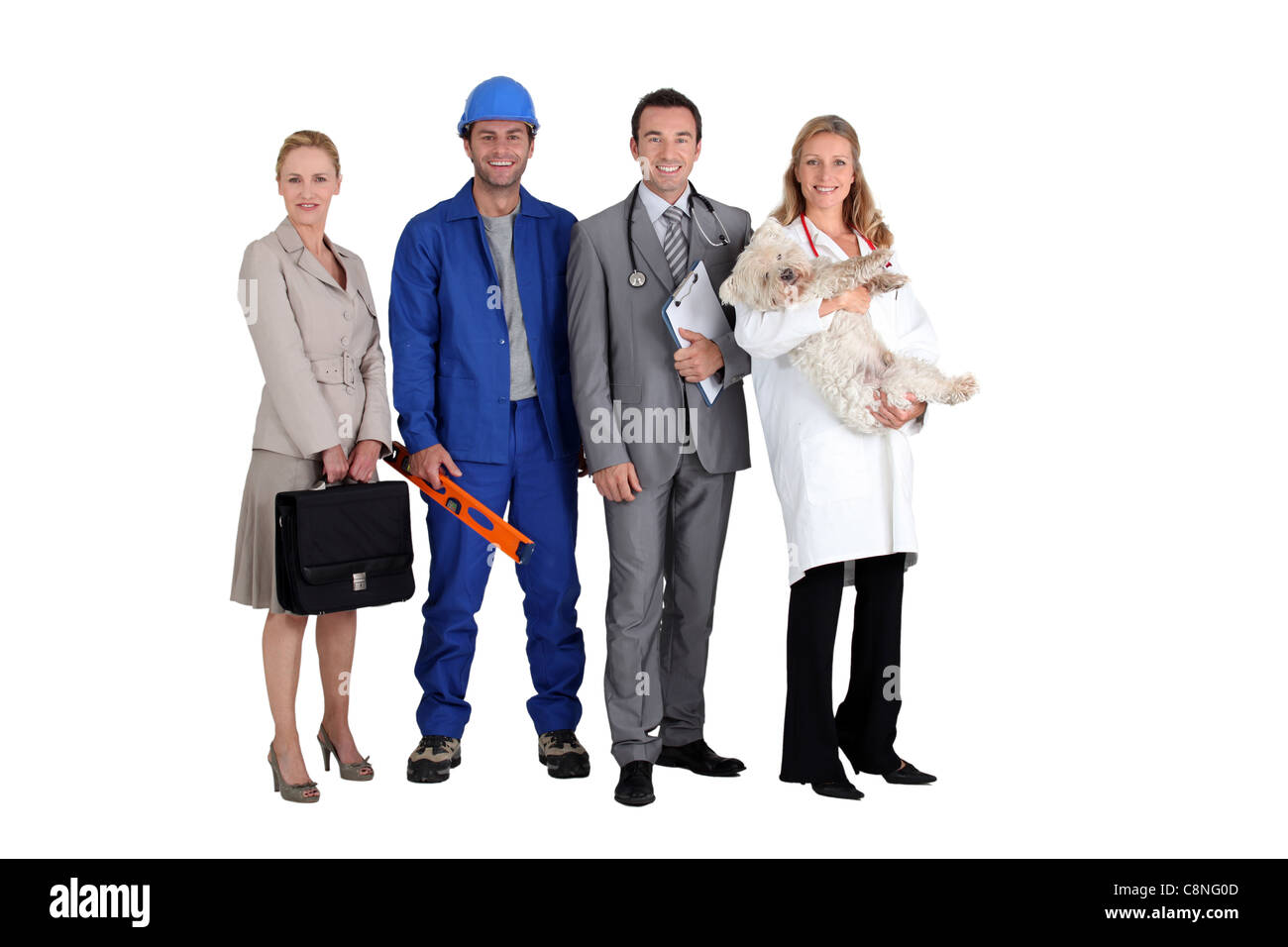 Four different occupations - Stock Image