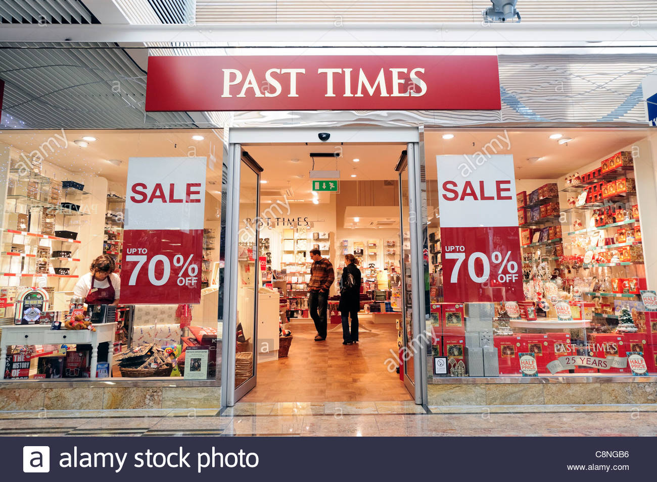 Past Times shop in Gloucester, UK. - Stock Image