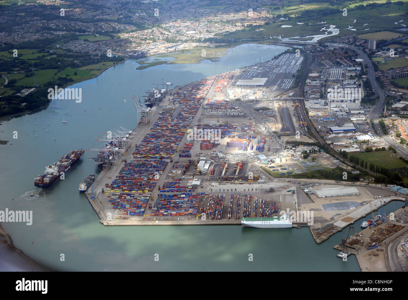 Aerial view of the Southampton international container port. - Stock Image