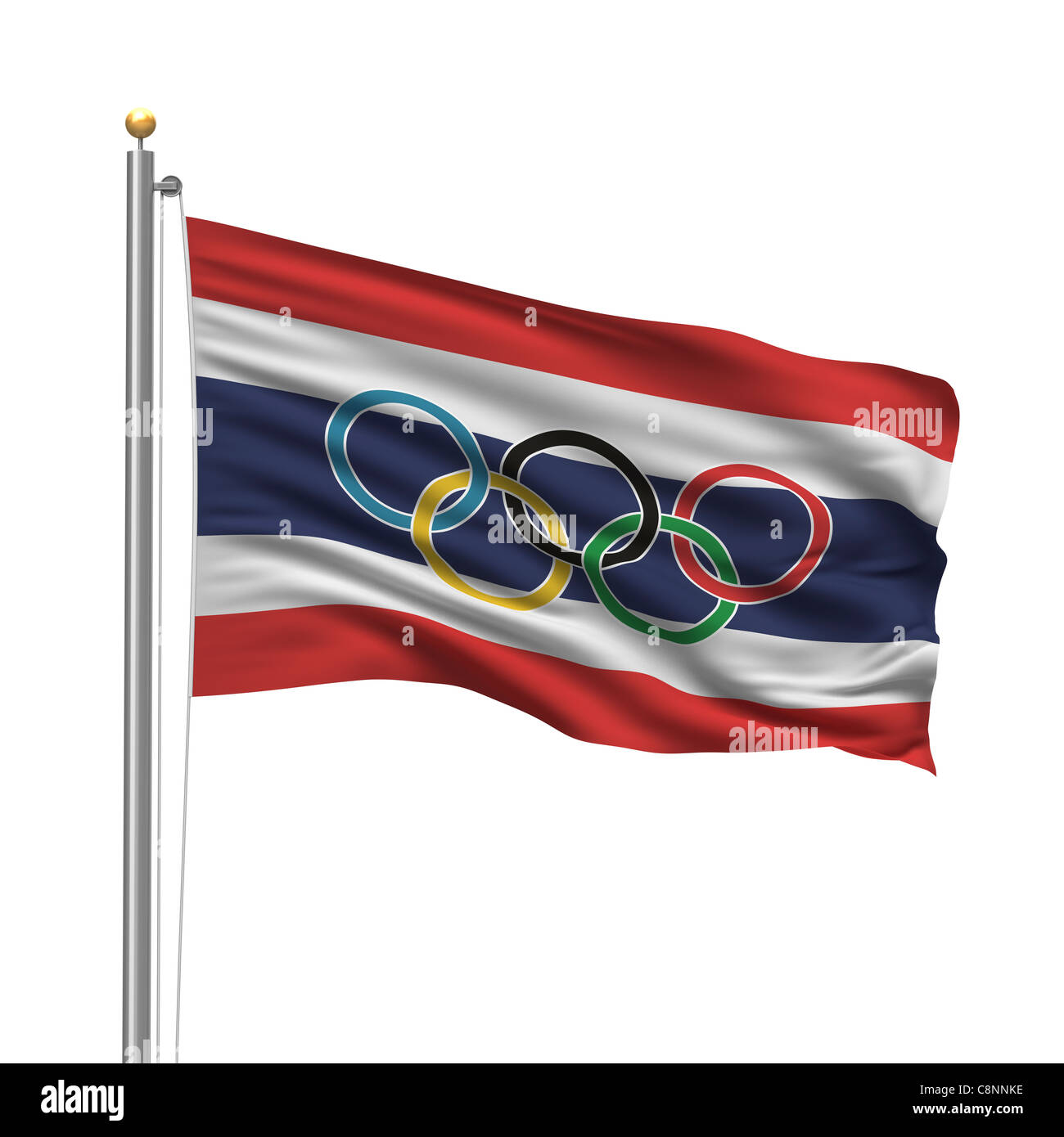 Flag of Thailand with Olympic rings - Stock Image