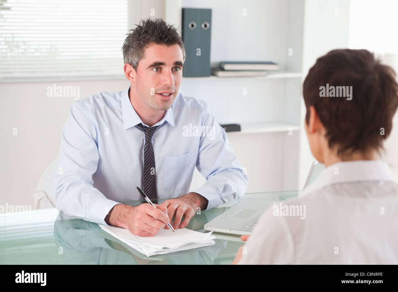 Manager interviewing a candidate - Stock Image