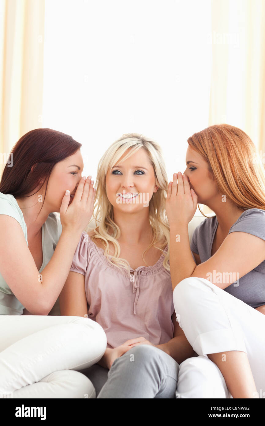 Cute woman being told two secrets at a time - Stock Image
