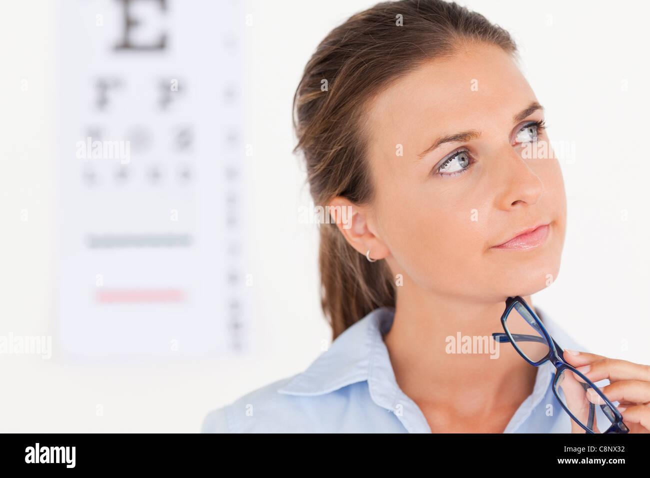 Thinking eye specialist - Stock Image