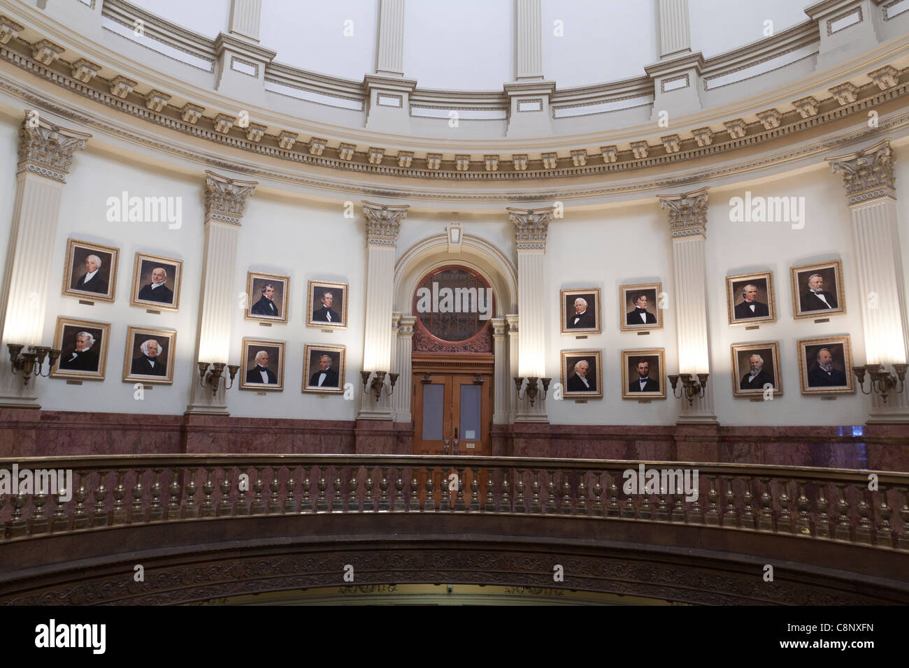 Gallery of Presidents displayed in the rotunda of the Colorado state capitol building in Denver. - Stock Image