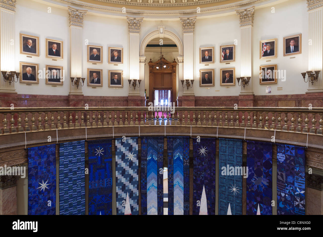 Gallery of Presidents displayed and banners hanging inside the rotunda of the Colorado state capitol building in - Stock Image
