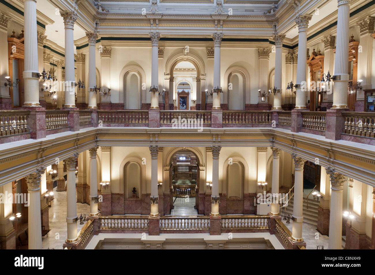 Two levels of atrium inside Colorado state capitol building in Denver - Stock Image