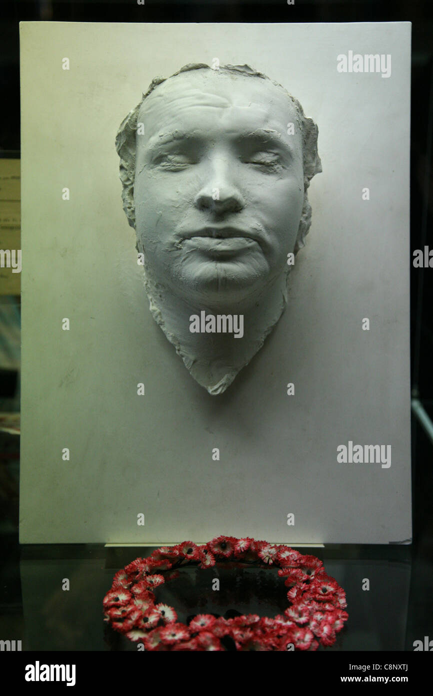 Death mask of Jan Palach in the exhibition in the National Museum in Prague, Czech Republic. - Stock Image