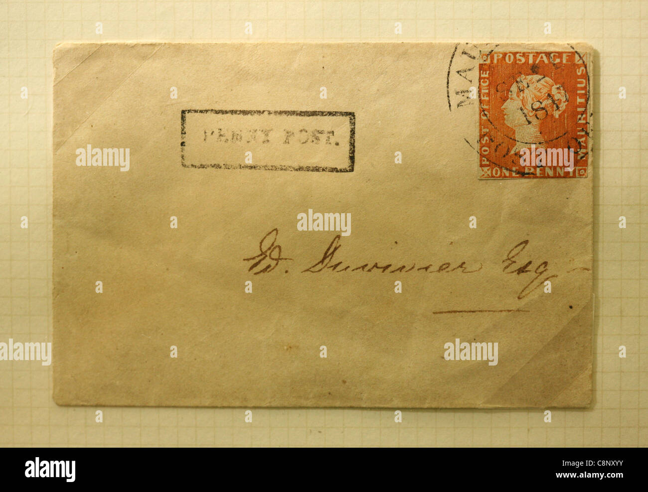The Mauritius 'Post Office' one penny red stamp on the envelop. One of the rarest postage stamps in the world. - Stock Image