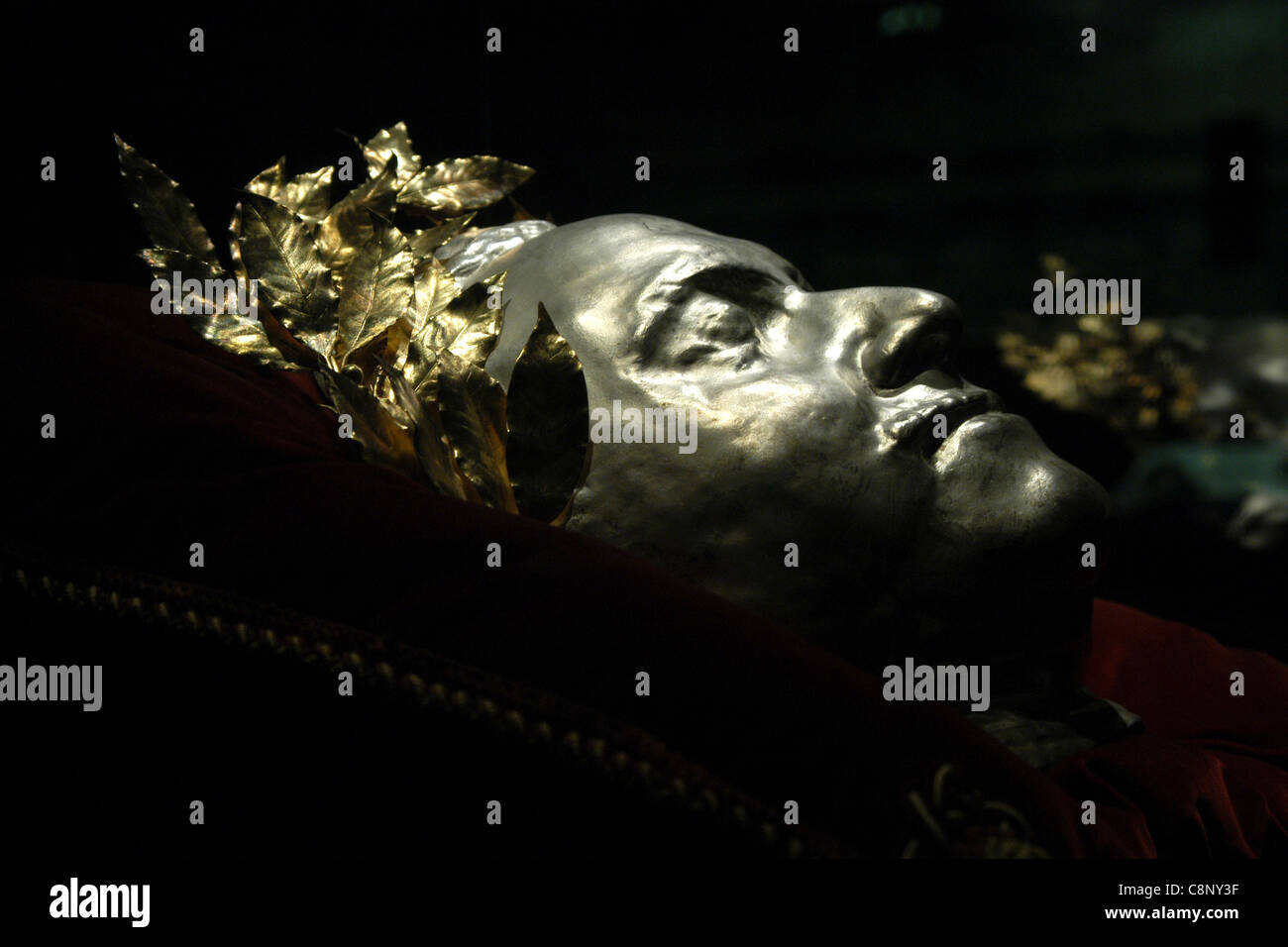 Death mask of Russian tsar Peter the Great seen at the State Historical Museum in Moscow, Russia. - Stock Image