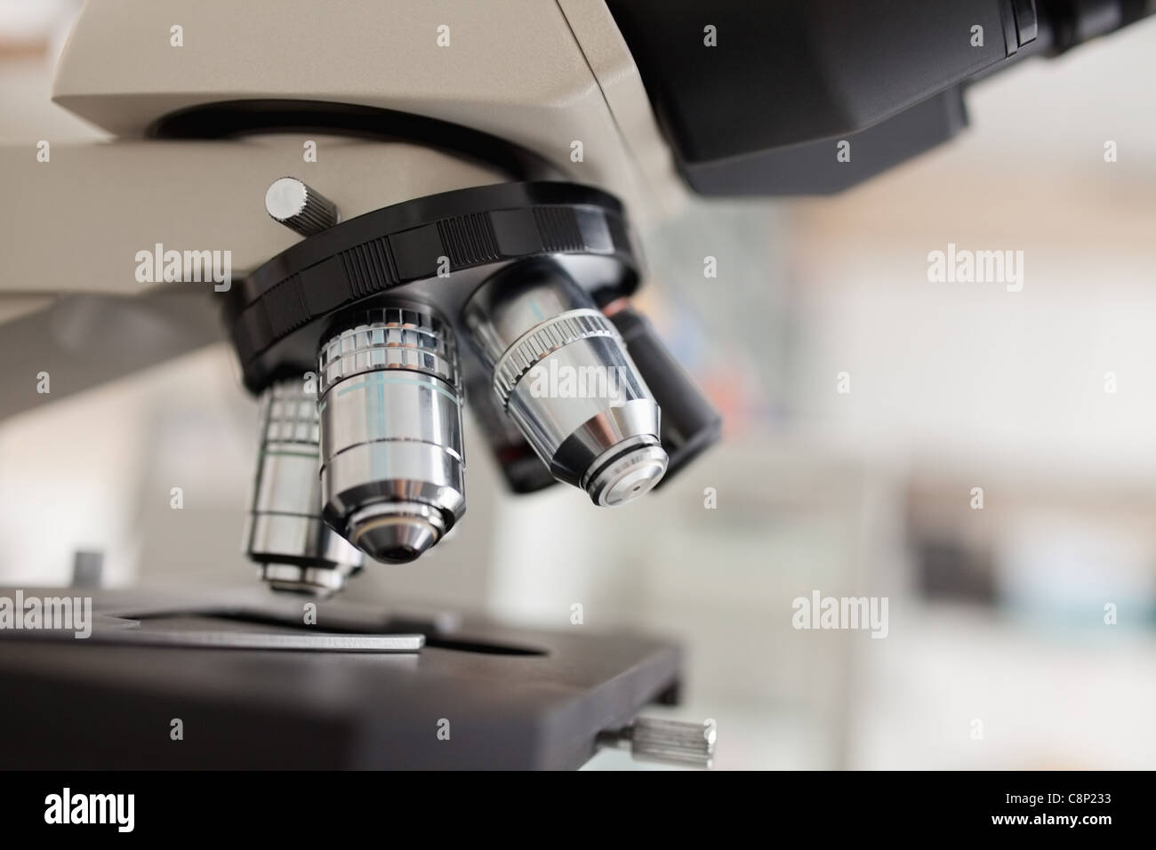 Close up of a microscope - Stock Image