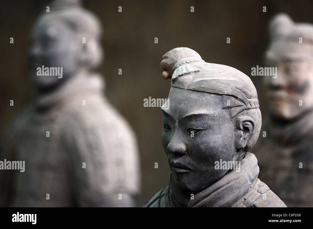 Terracotta warriors in Xian, China - Stock Image