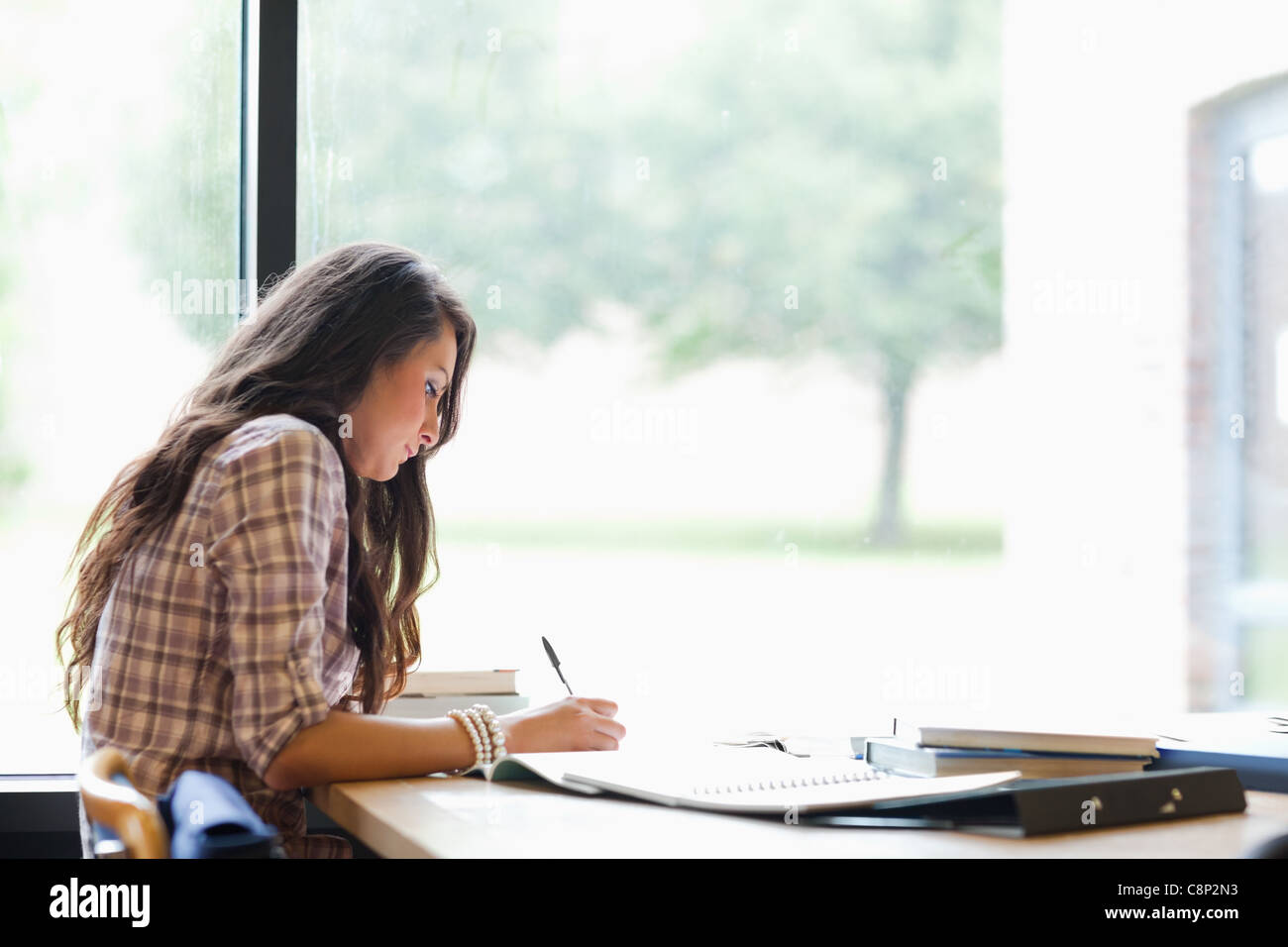 Gorgeous student working - Stock Image