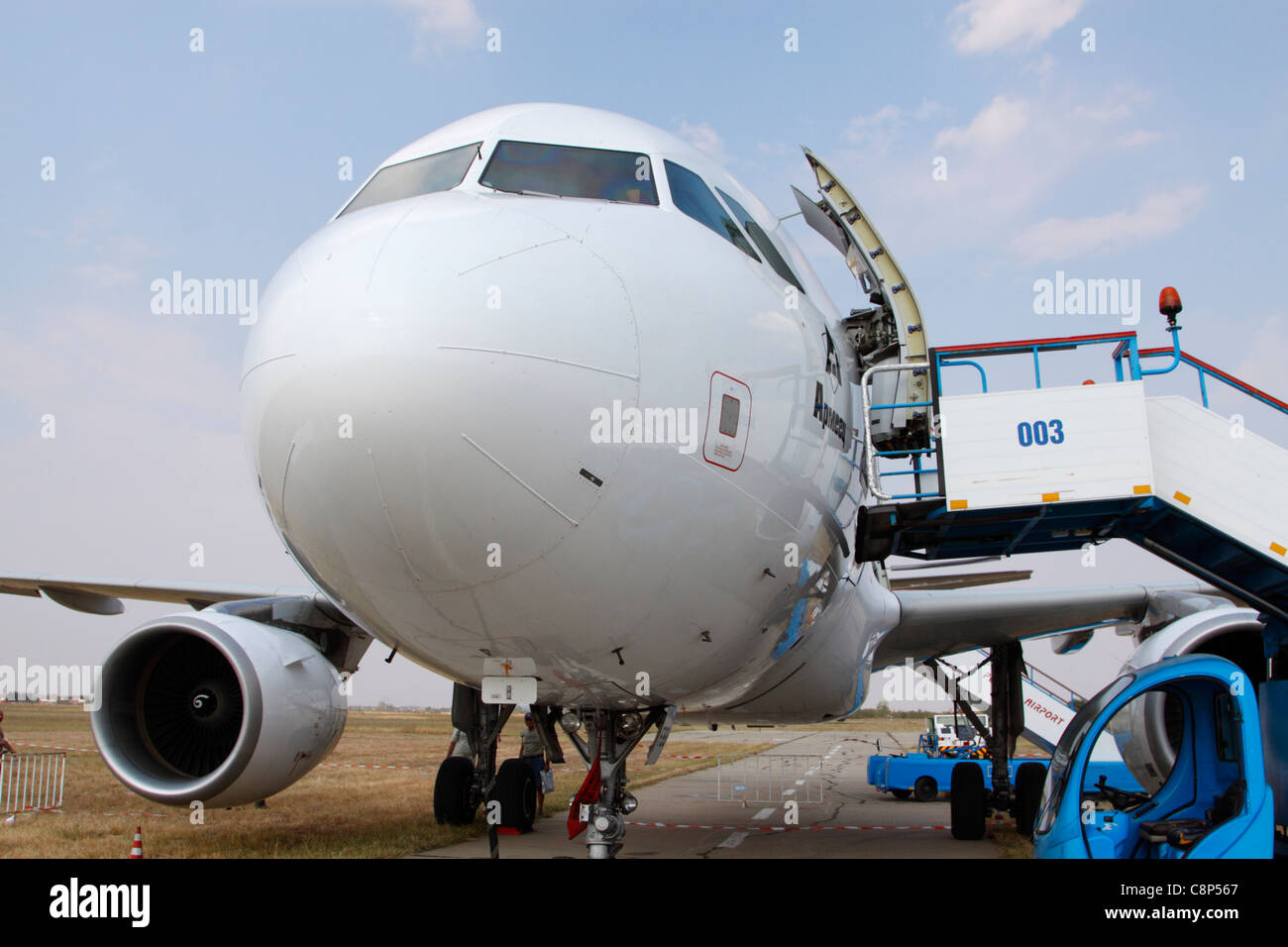 Frontal view of a Bulgarian Airways Airbus A320 at Plovdiv Airport in central Bulgaria - Stock Image