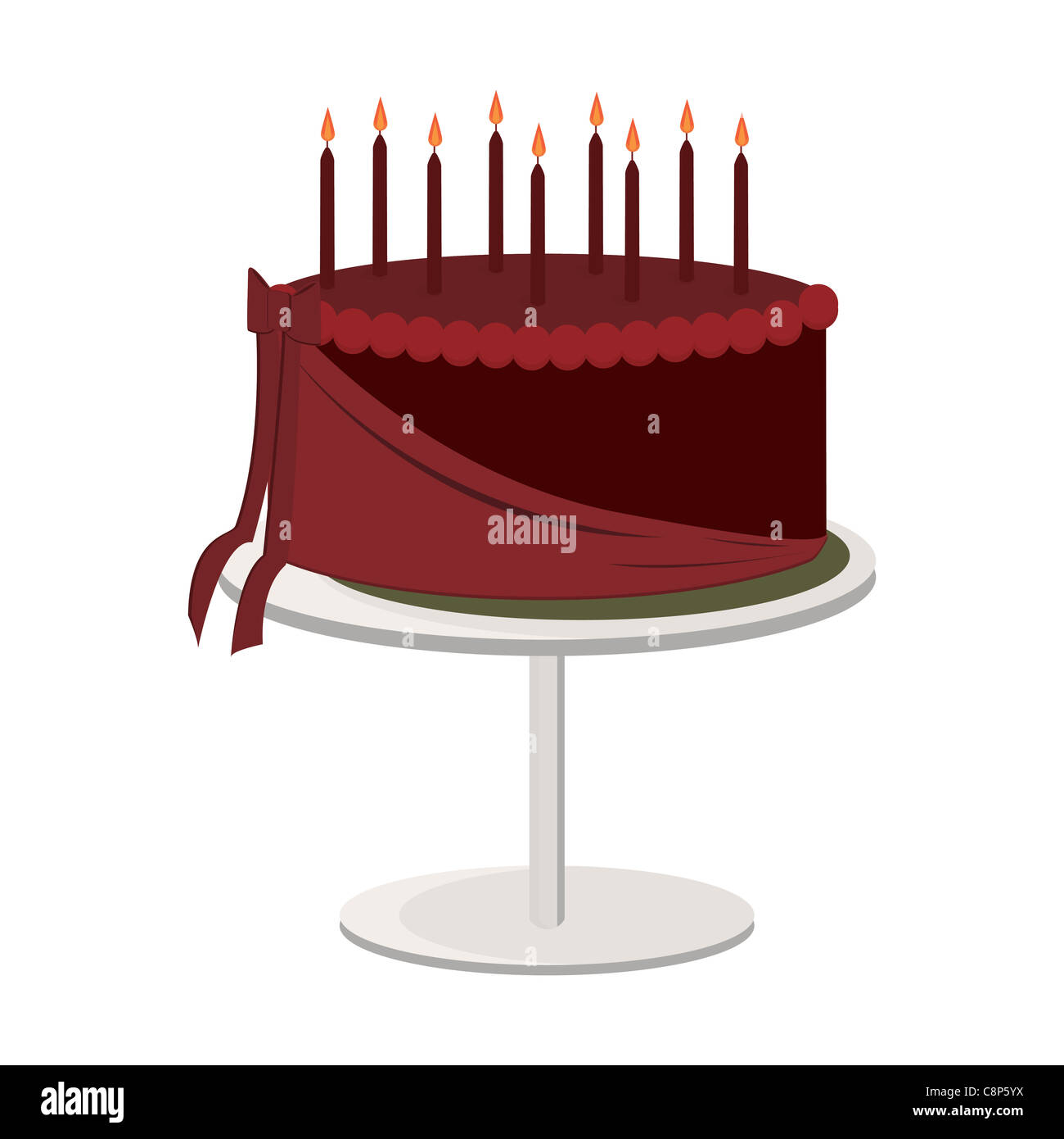 One Layer Chocolate Birthday Cake With Lit Candles