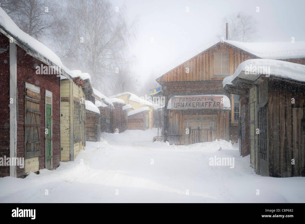 Street in old Gällivare - Stock Image