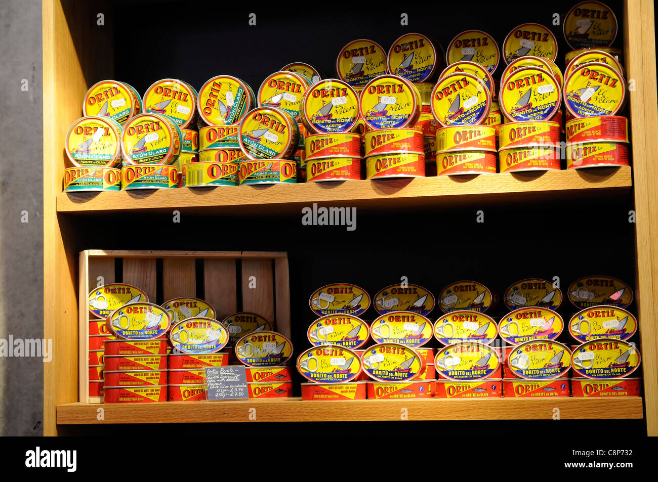 Tins of Spanish tuna, Borough Market, London. - Stock Image