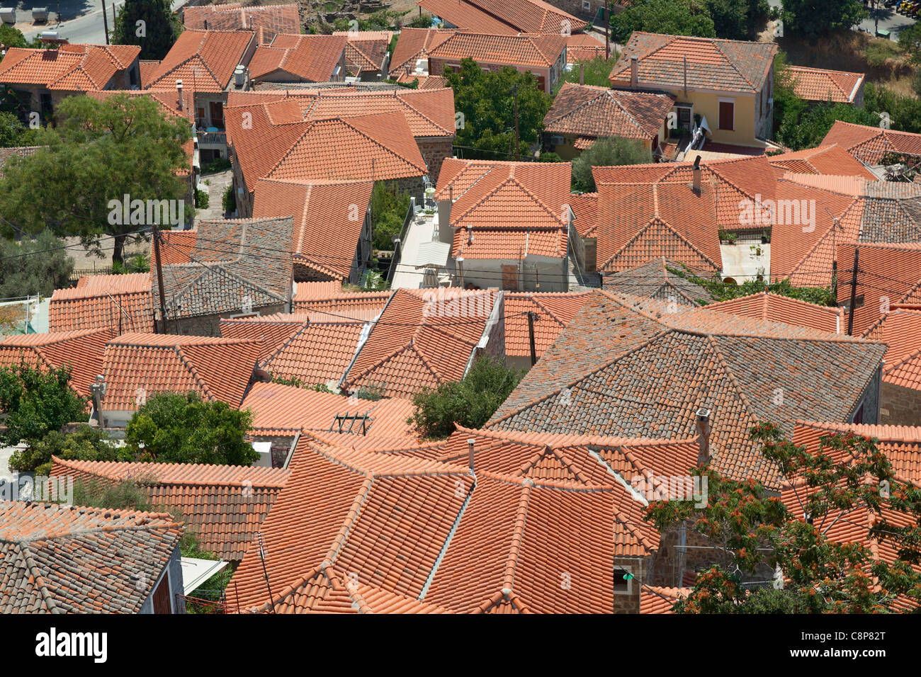 Terracota tiled rooftops of the city Mithymna, Lesbos, Greece - Stock Image