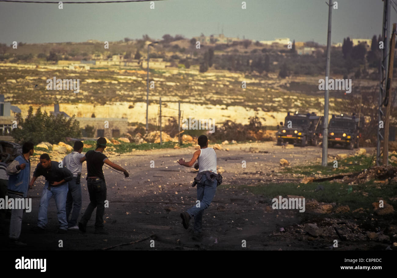 RAMALLAH Friday of intifada, RAMALLAH Friday of intifada War of stones - Stock Image