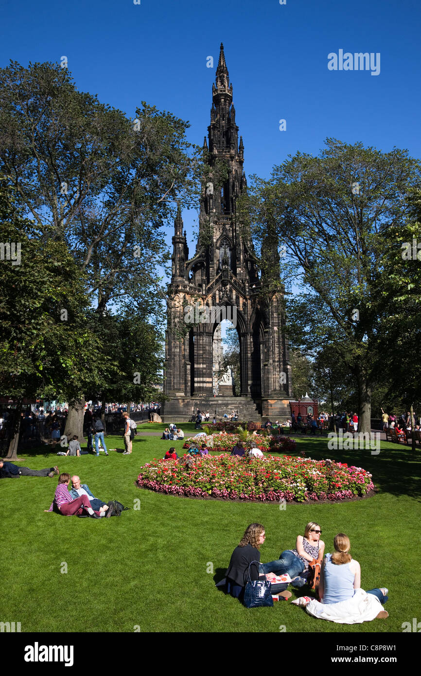 Scott Monument in Princes Street Gardens, Edinburgh, Scotland, UK, Great Britain - Stock Image